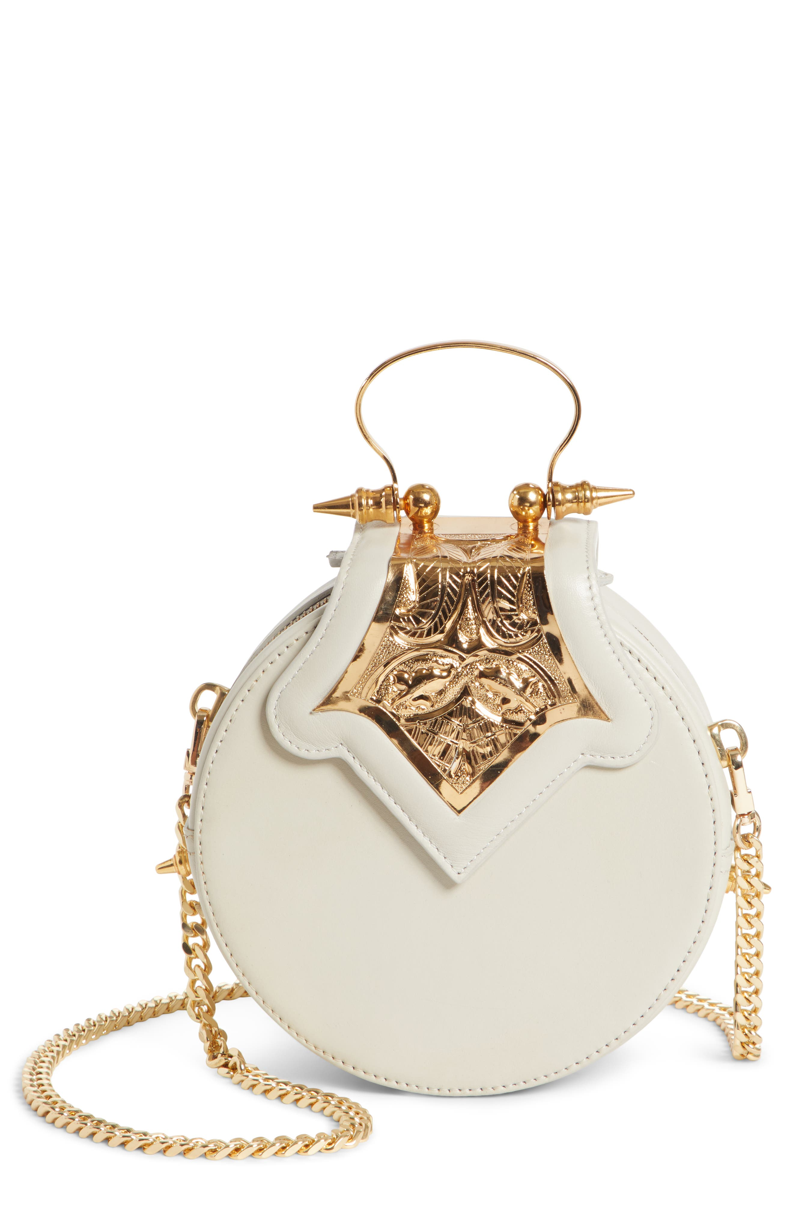 OKHTEIN Mini Dome Crossbody Clutch - White in Ivory X Gold