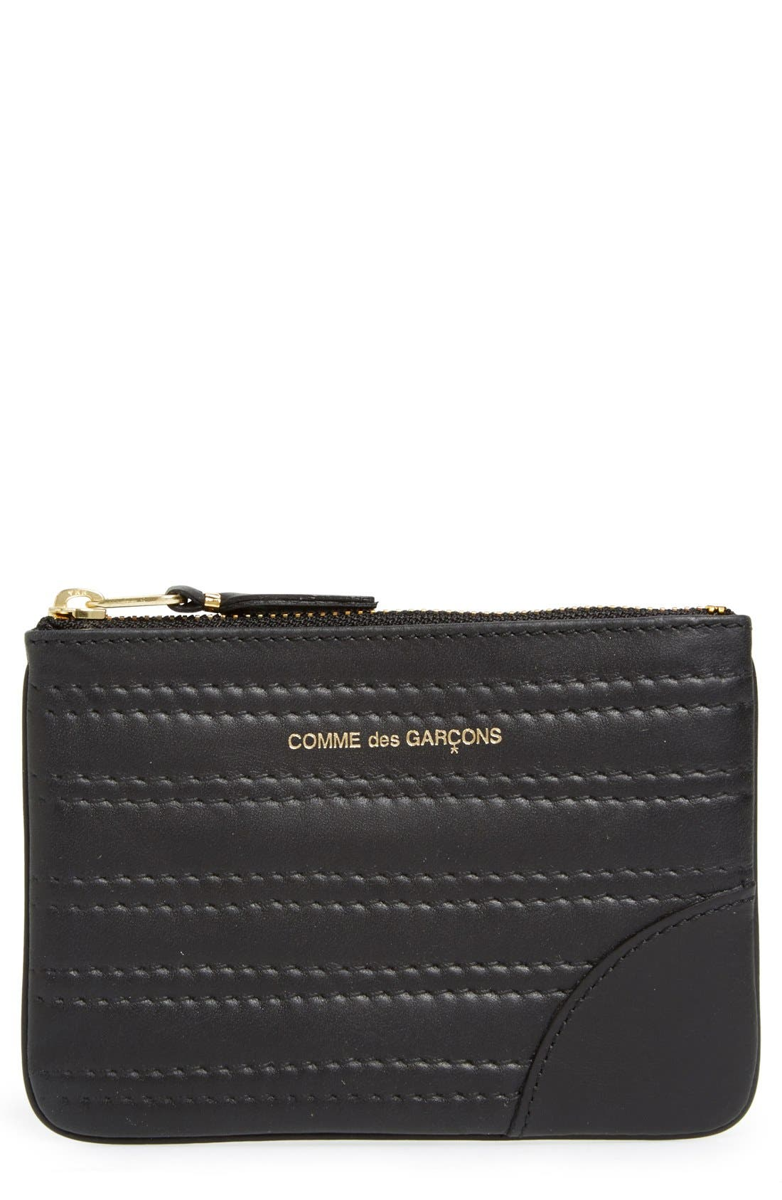 Embossed Leather Top Zip Pouch Wallet,                             Main thumbnail 1, color,                             001