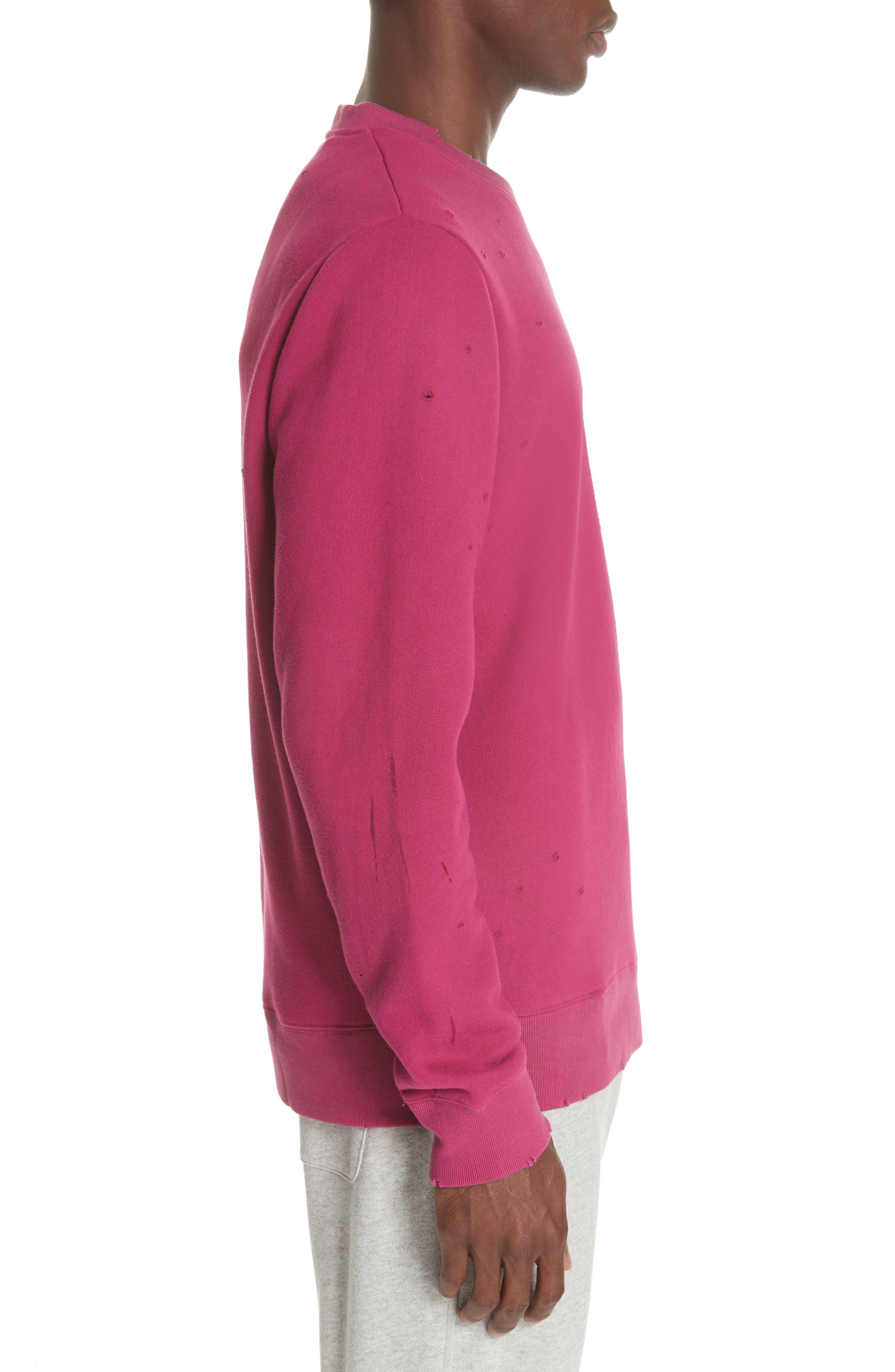 Distressed Crewneck Sweatshirt,                             Alternate thumbnail 3, color,                             RASBERRY