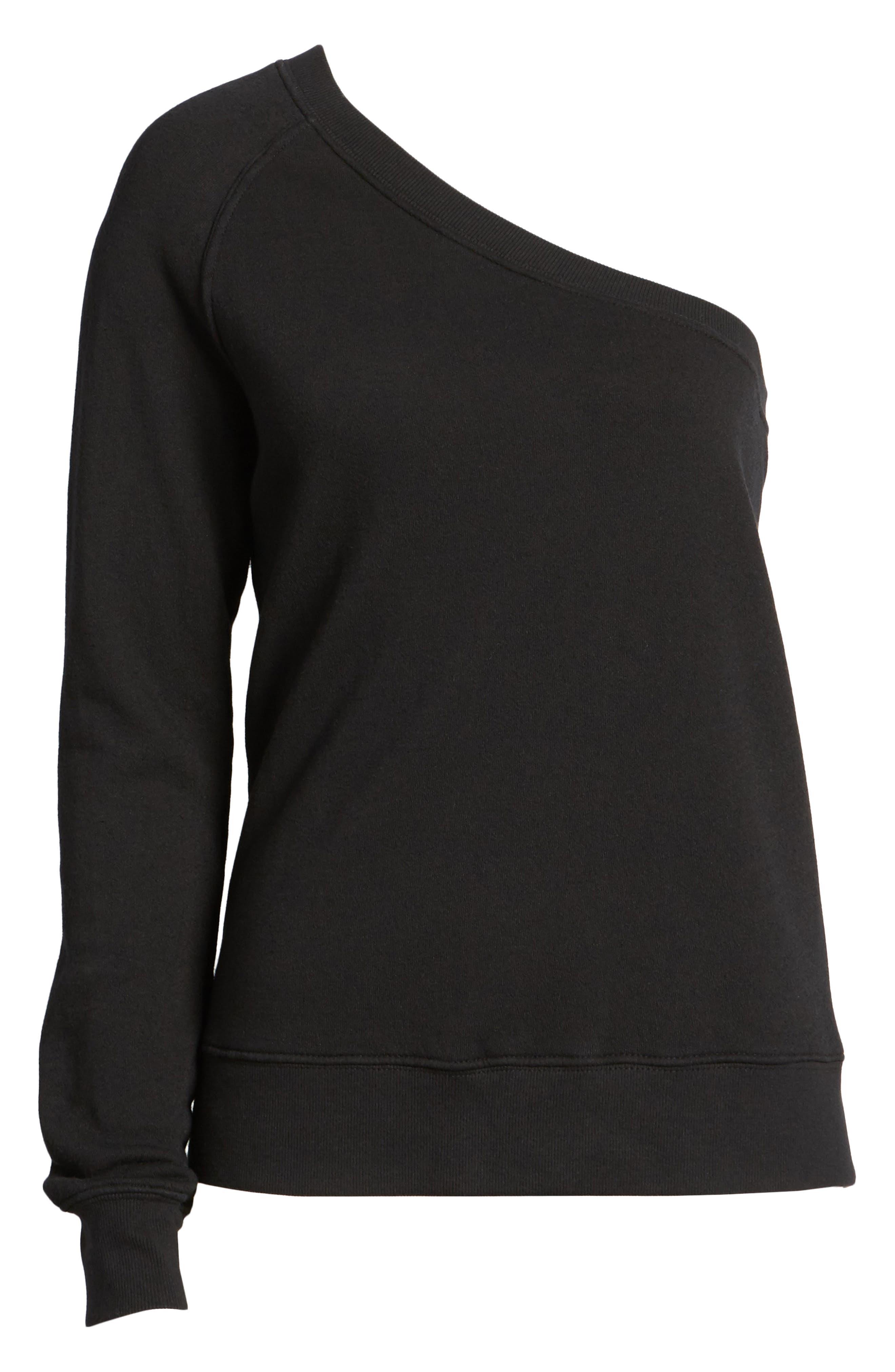 One-Shoulder Sweatshirt,                             Alternate thumbnail 6, color,                             001