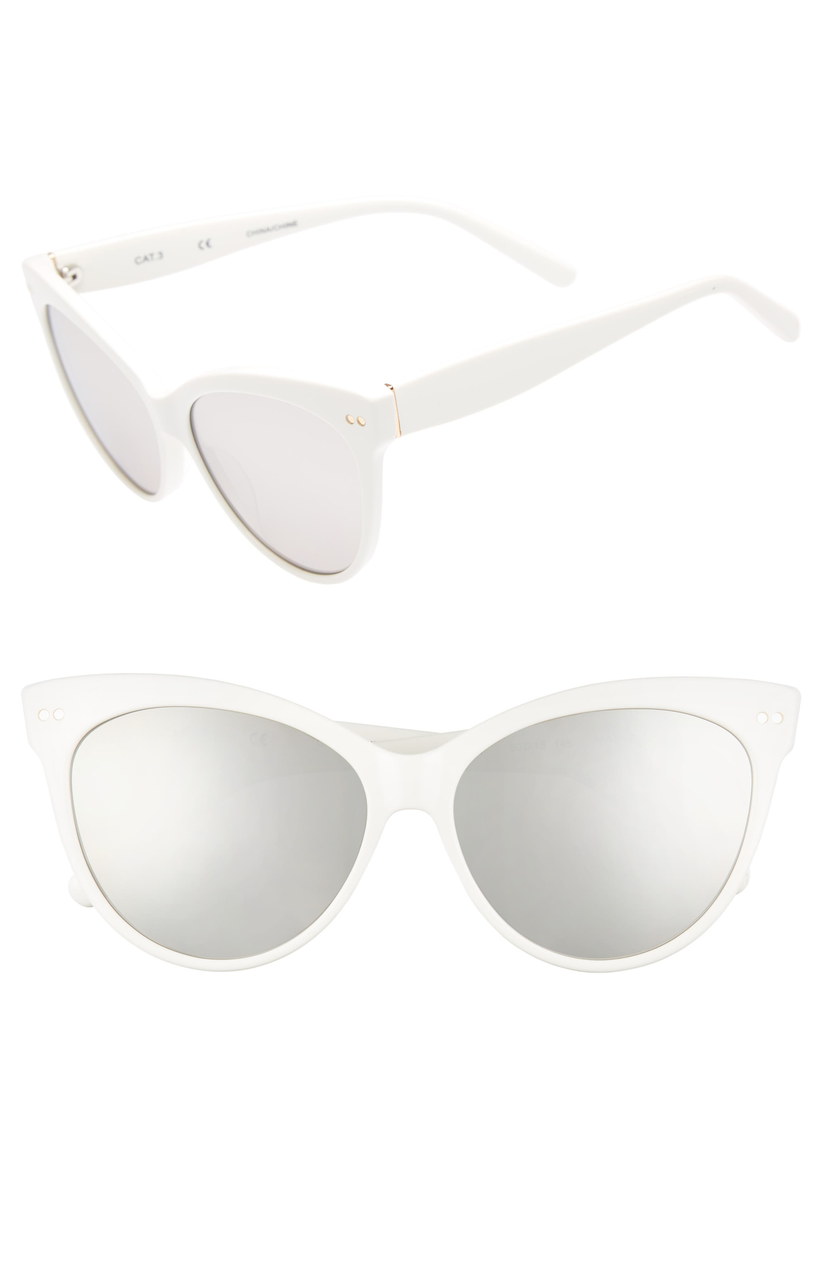 Audrey 60mm Cat Eye Sunglasses,                             Main thumbnail 1, color,                             WHITE