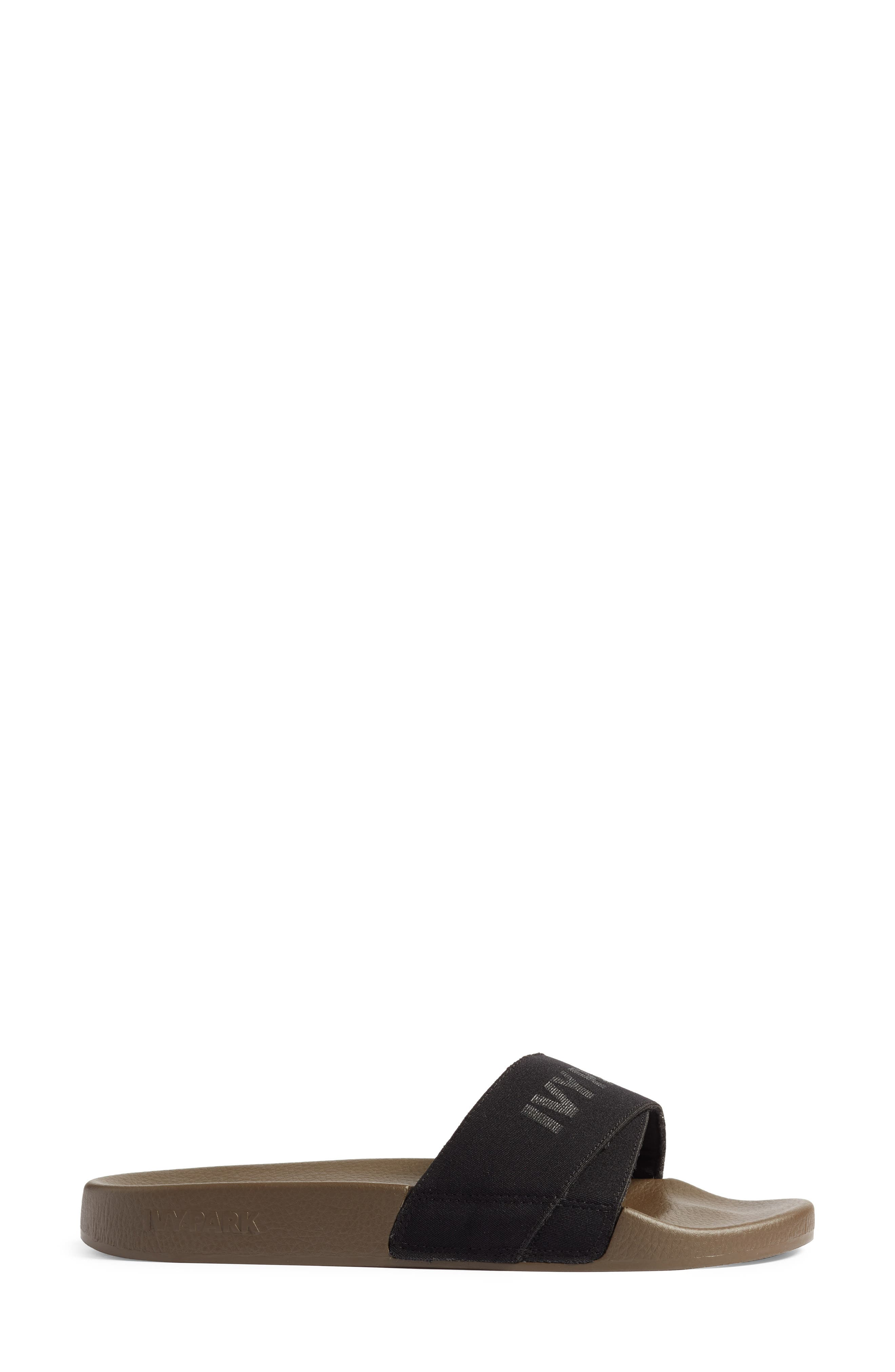 Logo Tape Slide Sandal,                             Alternate thumbnail 3, color,                             CROCODILE