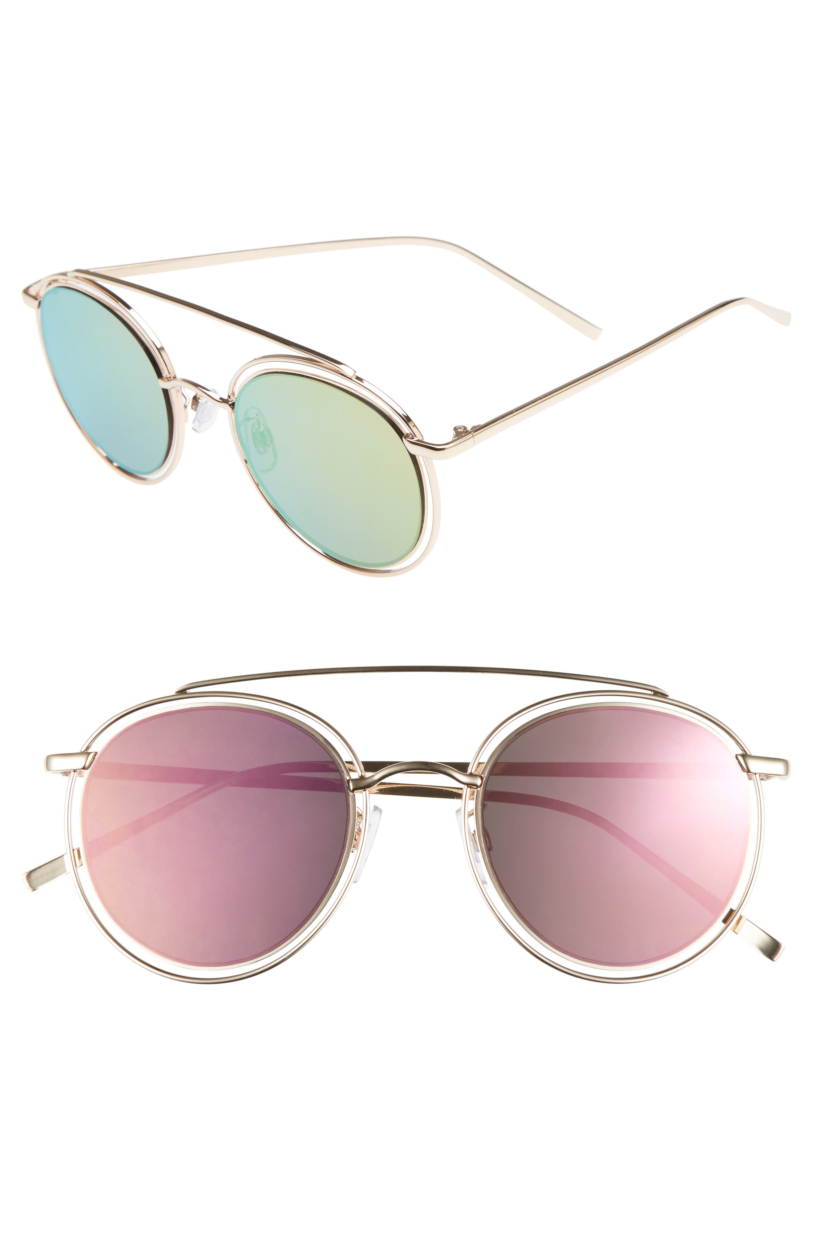 50mm Browbar Sunglasses,                         Main,                         color, GOLD/ PINK