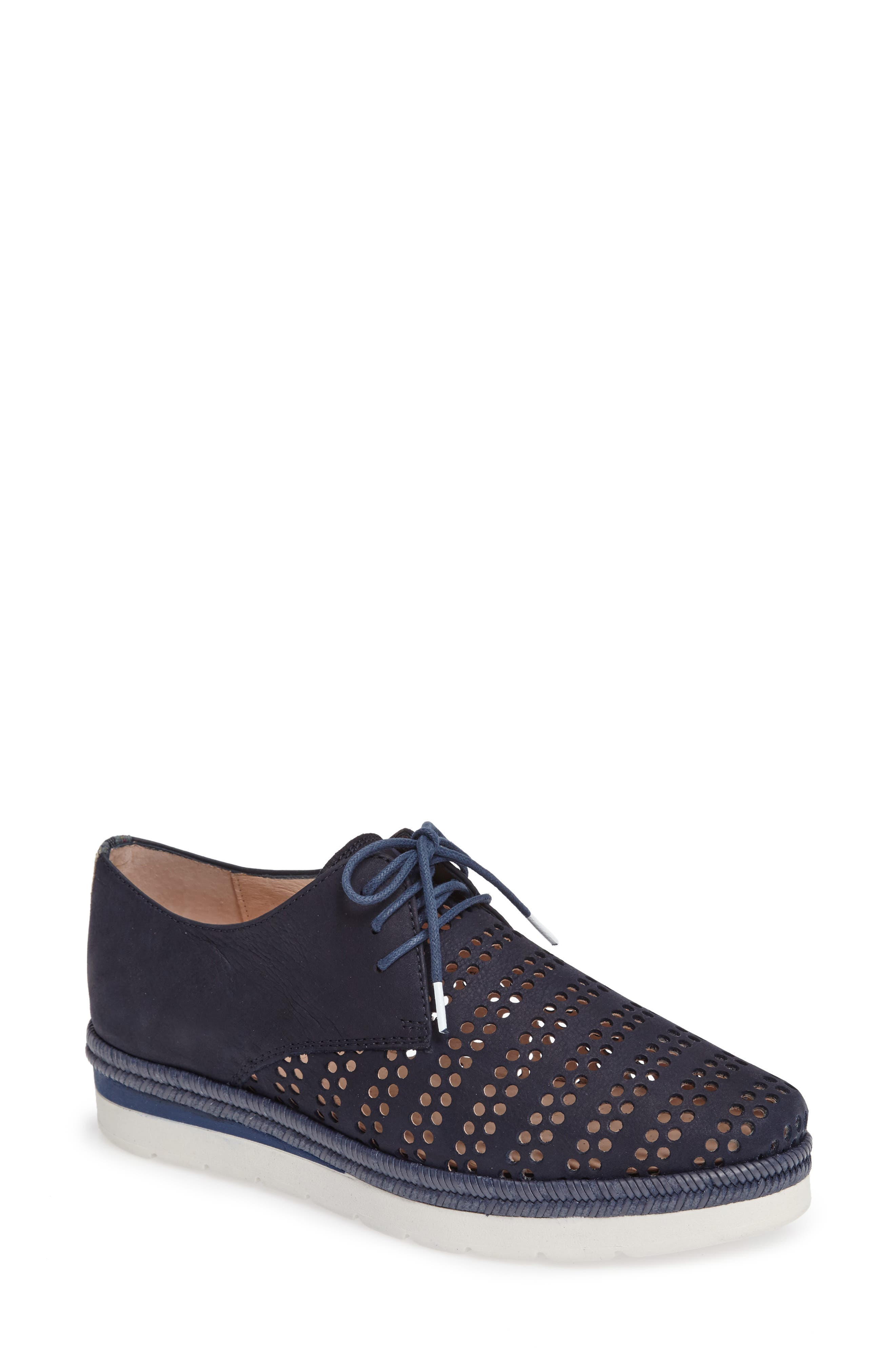 'Laken' Perforated Platform Derby,                             Main thumbnail 1, color,                             PEACH JEANS LEATHER