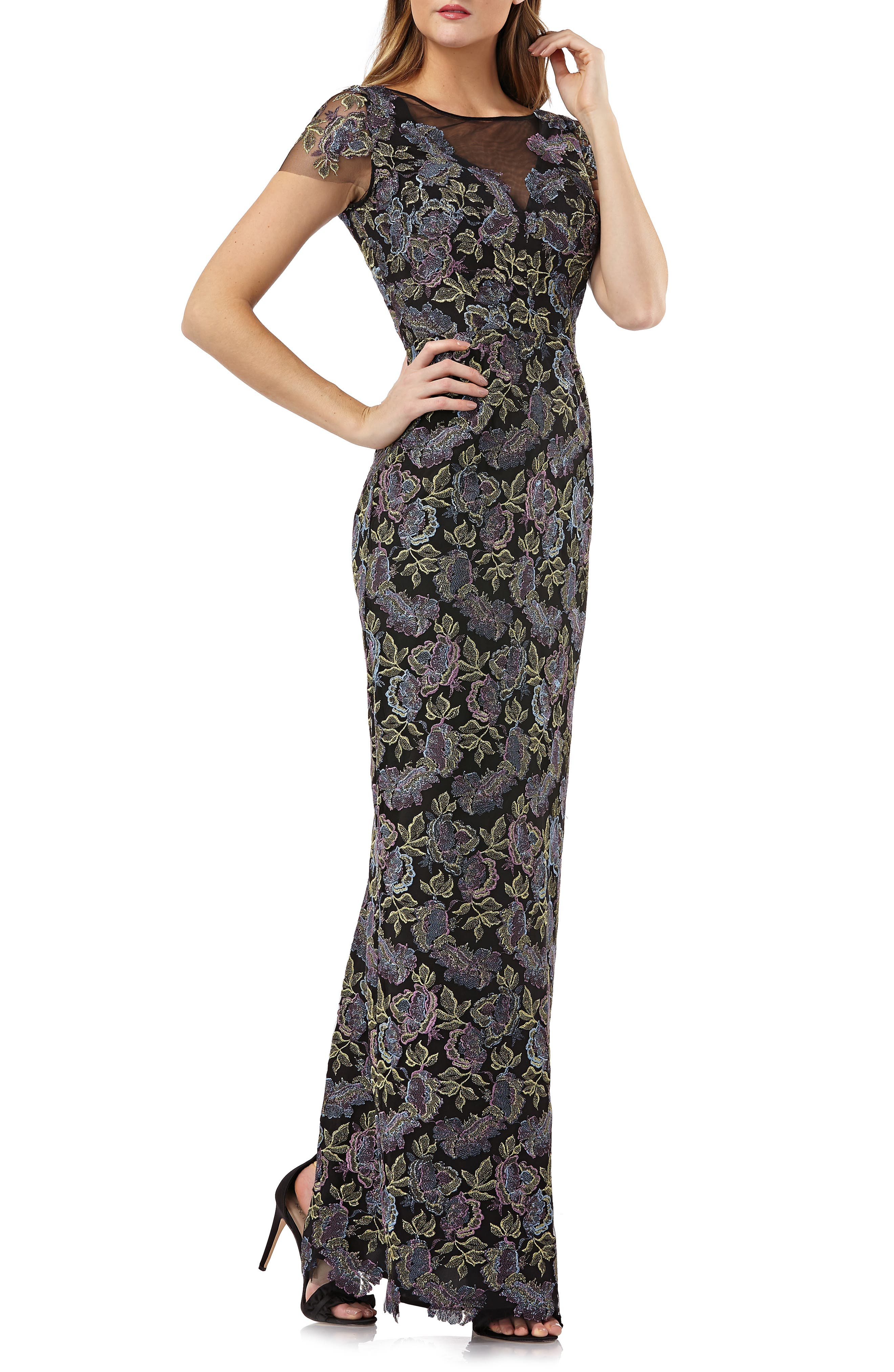 Js Collections Metallic Floral Embroidered Gown, Black