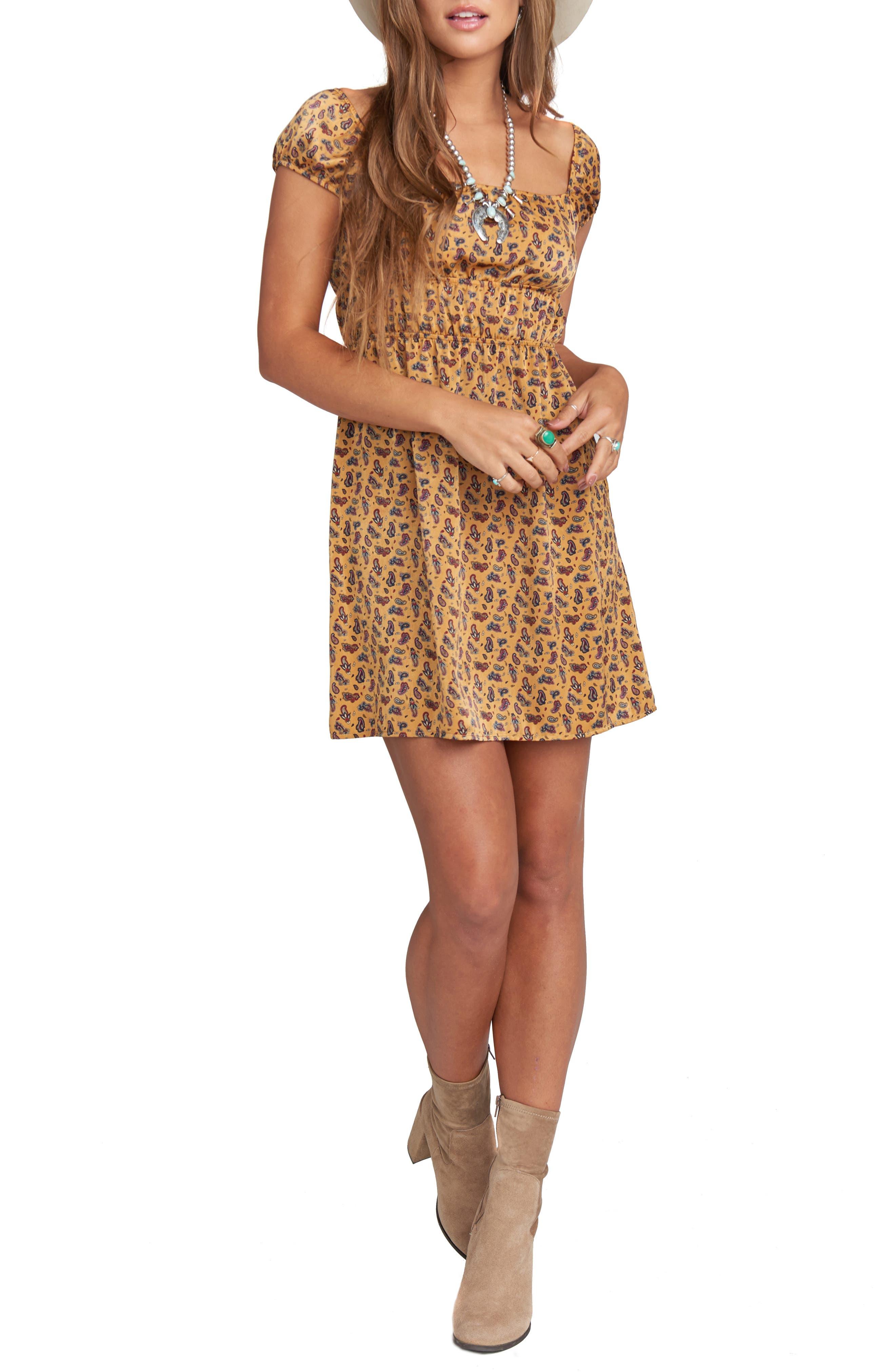 Wild West Paisley Print Dress, Main, color, WILD WEST PAISLEY SHEEN