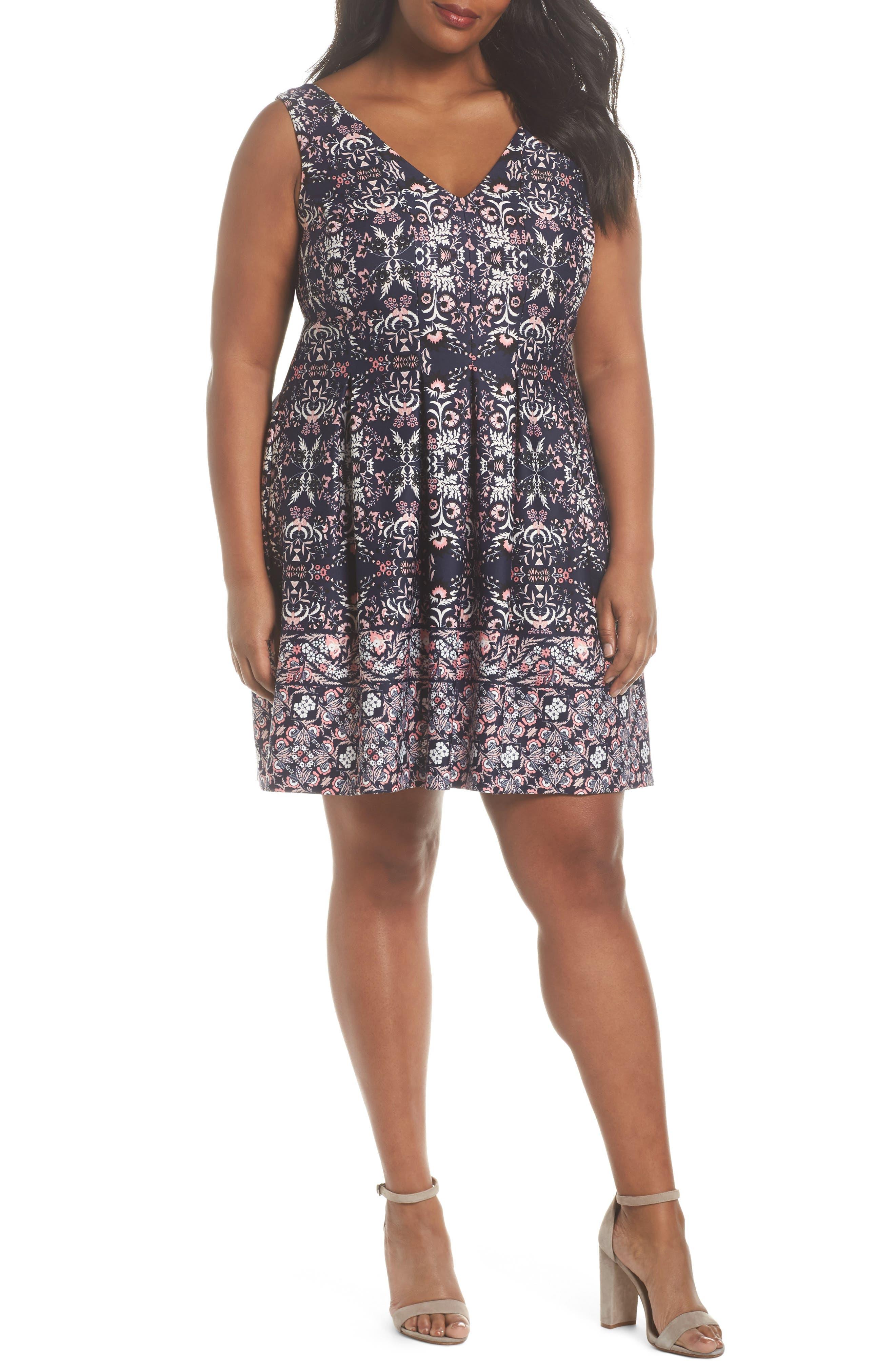 Scuba Fit & Flare Dress,                             Main thumbnail 1, color,                             470