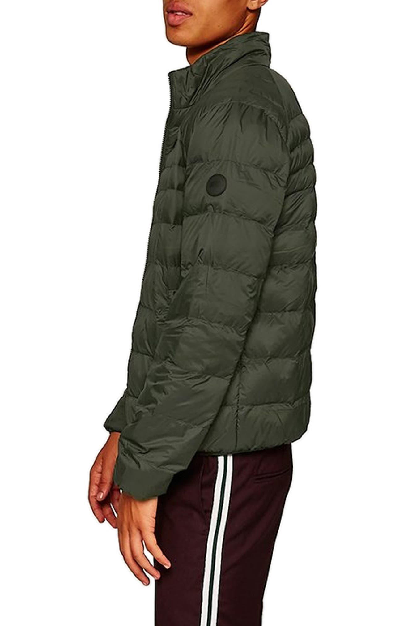 Mitchell Quiilted Nylon Jacket,                             Alternate thumbnail 3, color,                             GREEN