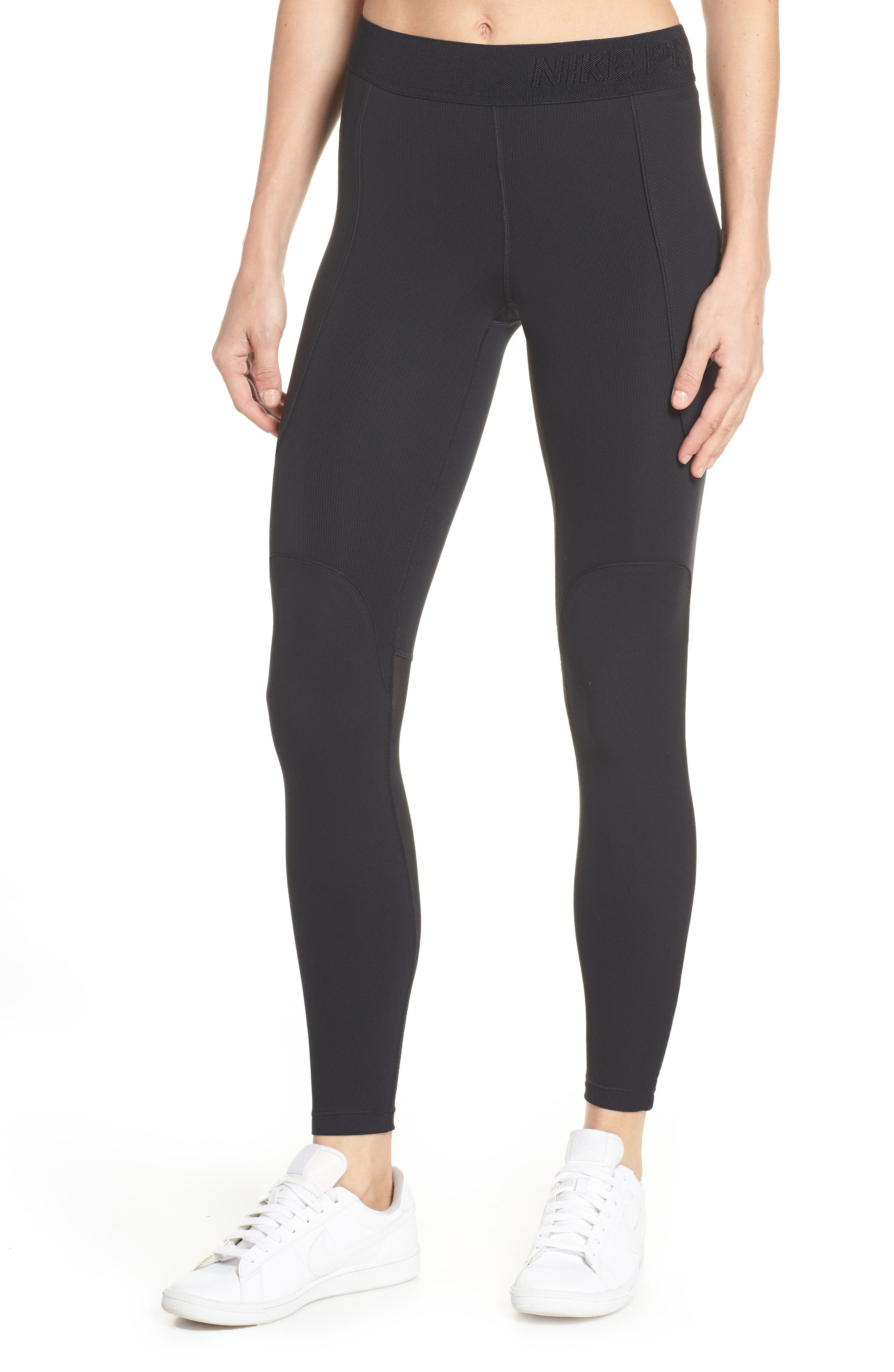 The Nike Pro HyperCool Women's Ribbed Tights, Main, color, BLACK/ CLEAR