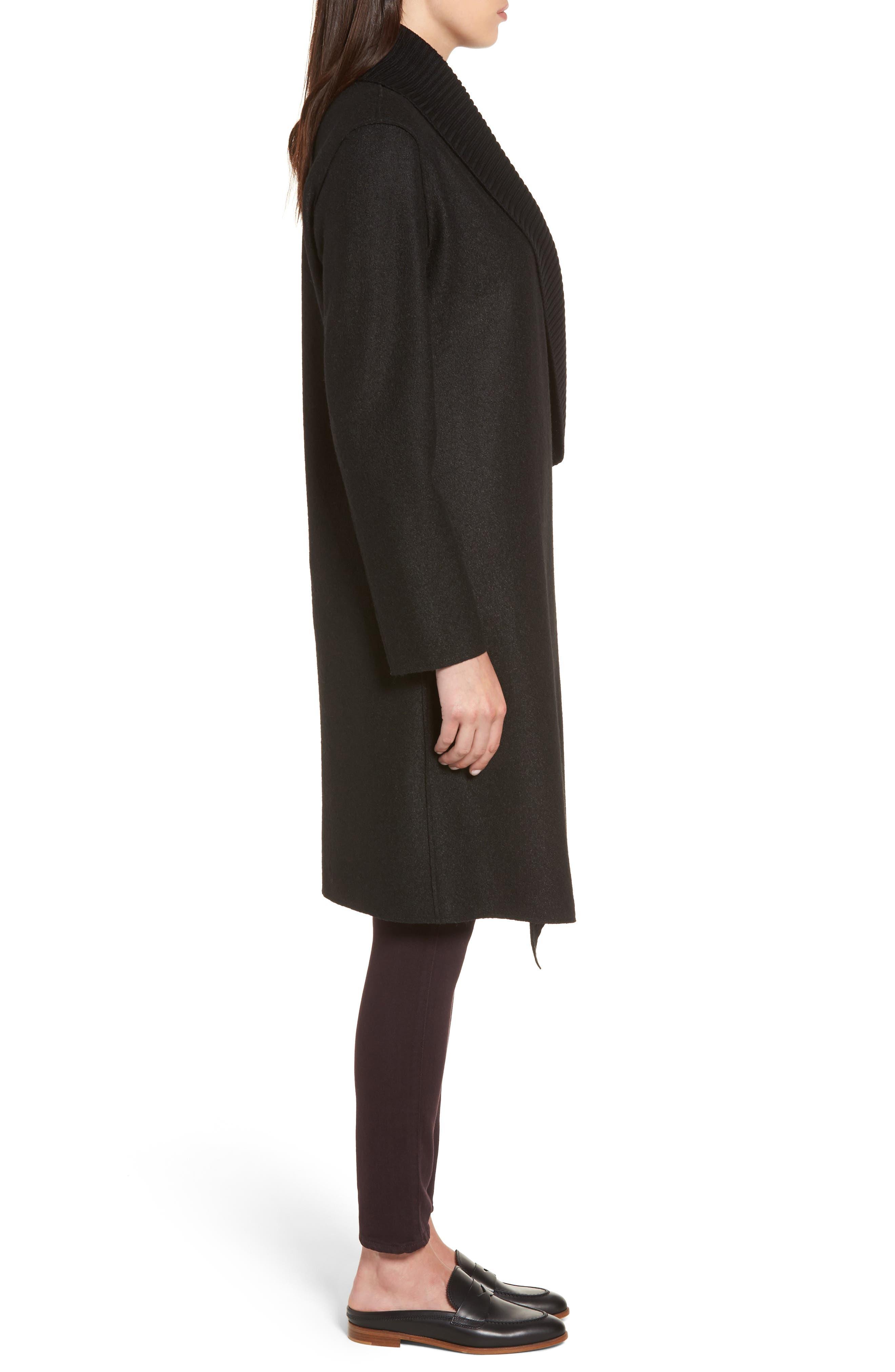 Emily Boiled Wool Blend Duster Coat,                             Alternate thumbnail 3, color,                             001