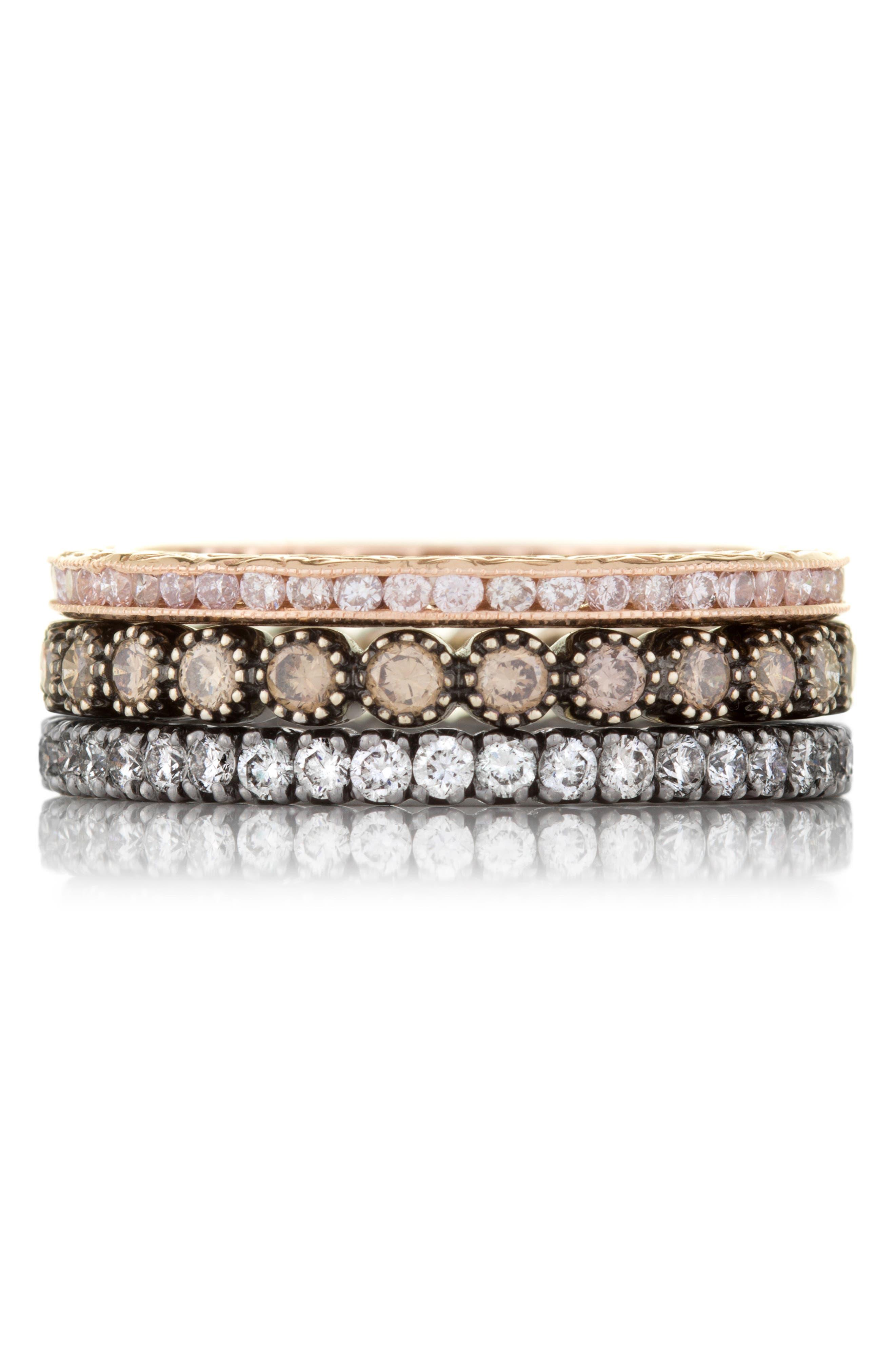 Channel Set Diamond Ring,                             Alternate thumbnail 3, color,                             ROSE GOLD