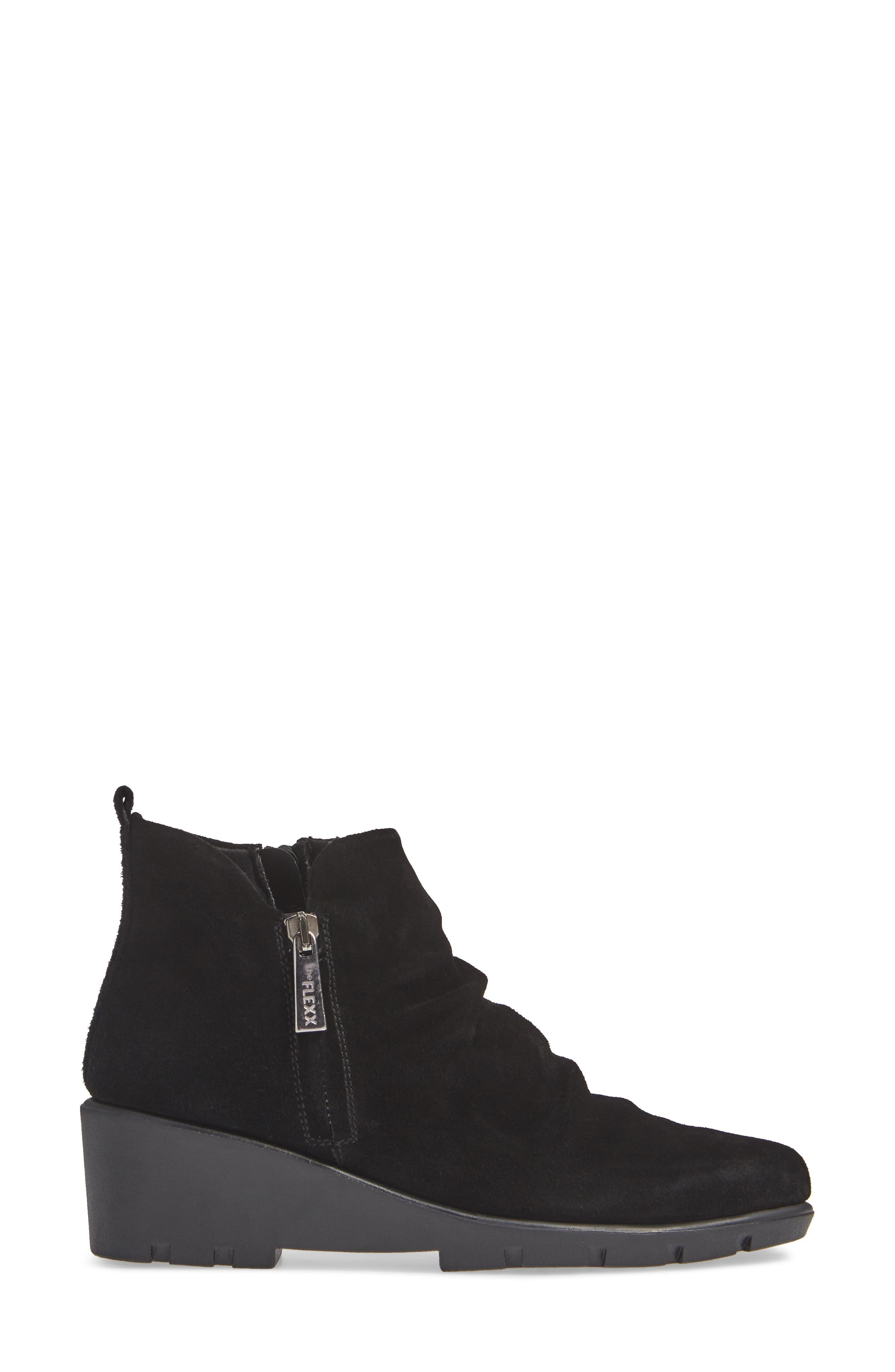 Slingshot Ankle Bootie,                             Alternate thumbnail 3, color,                             BLACK WATERPROOF SUEDE