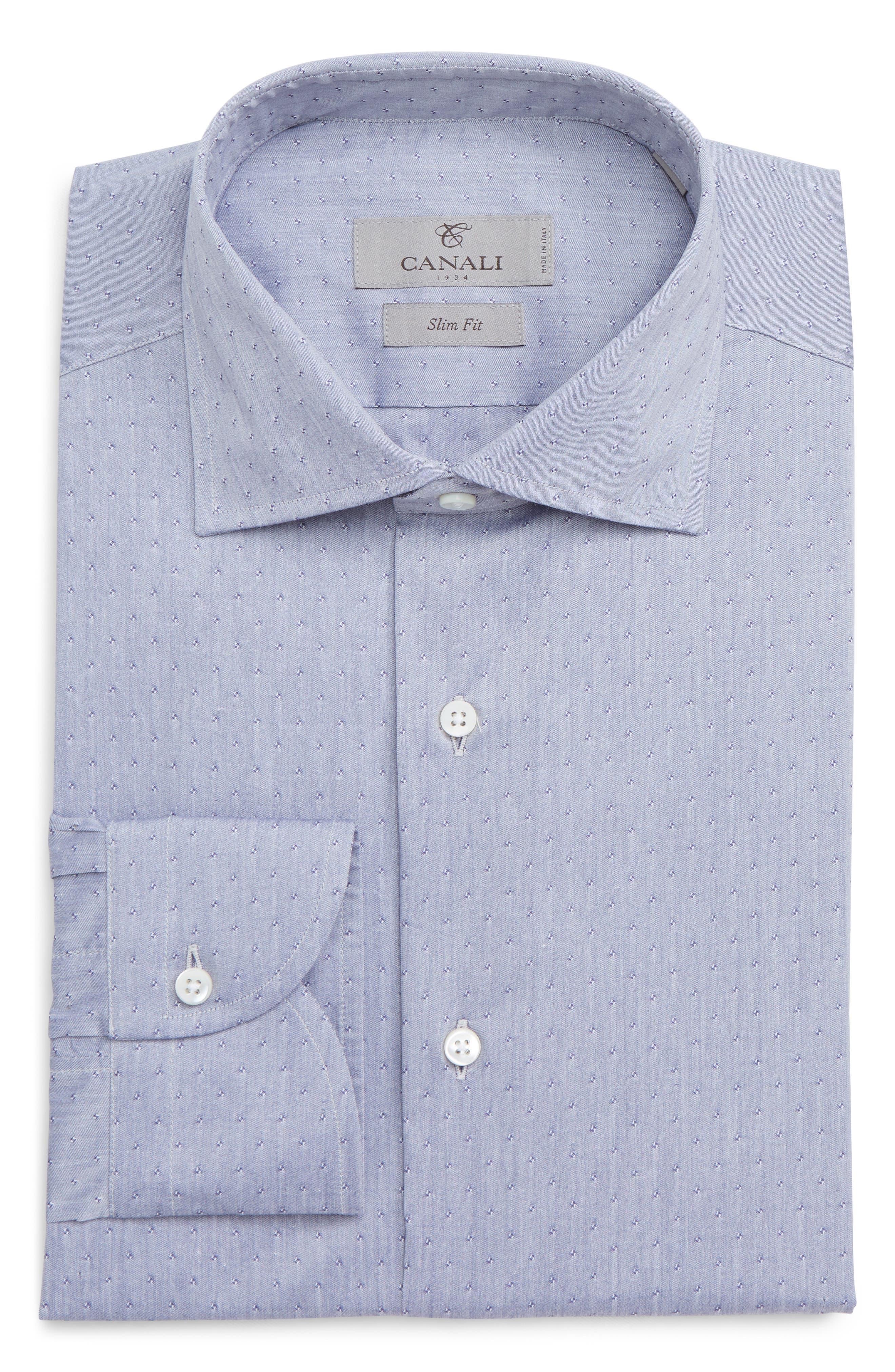 Slim Fit Stretch Dot Dress Shirt,                             Alternate thumbnail 5, color,                             MED GREY