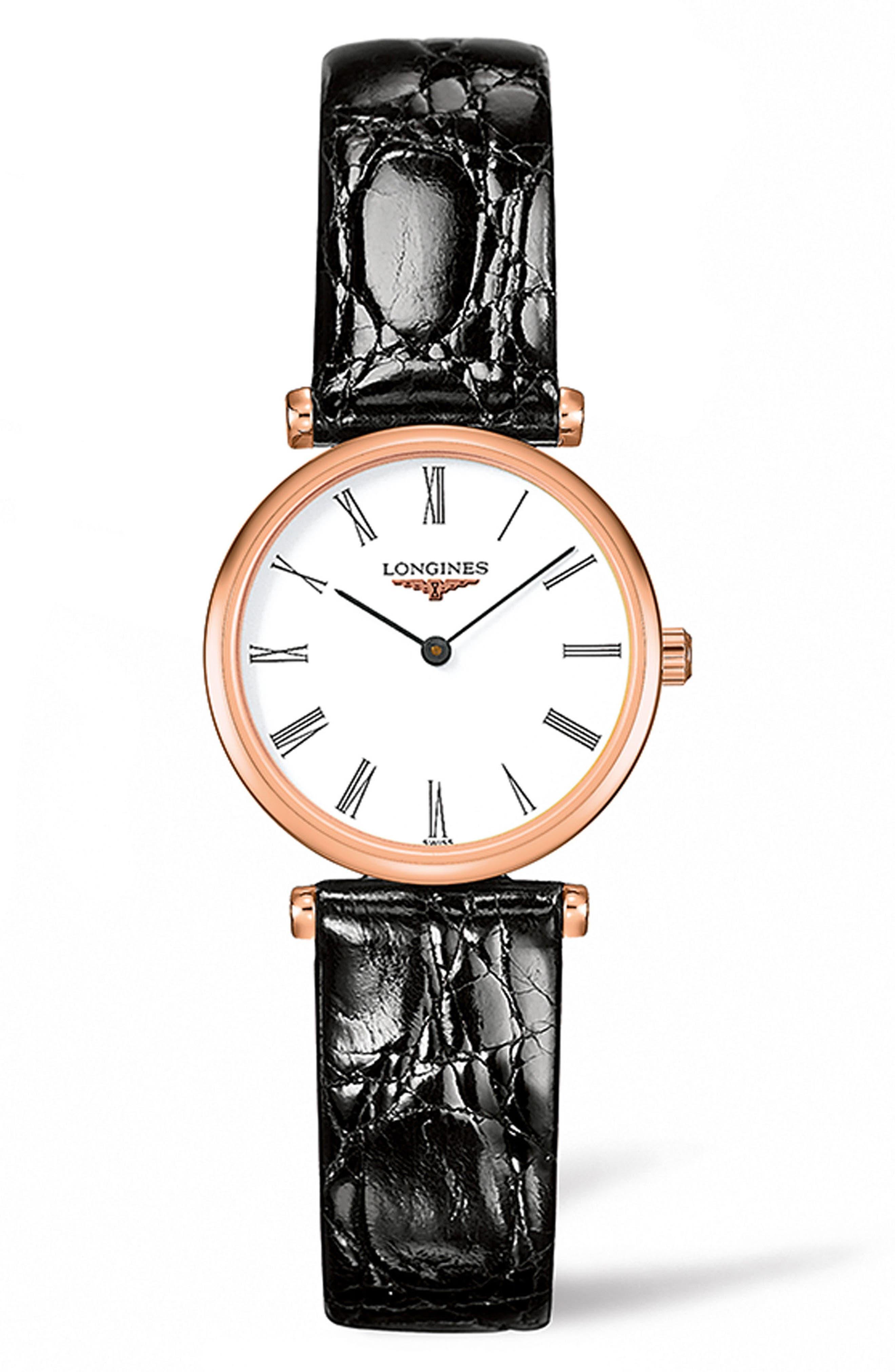 La Grande Classique de Longines Leather Strap Watch, 24mm,                             Main thumbnail 1, color,                             BROWN/ WHITE/ ROSE GOLD