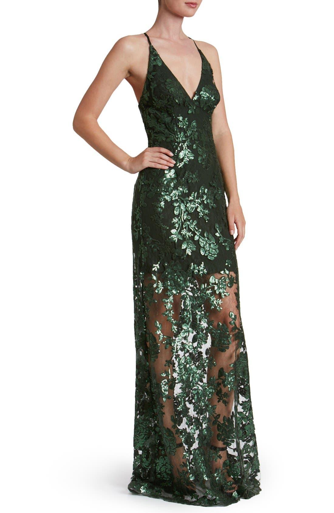 'Vivienne' Sequin Lace Gown,                             Main thumbnail 1, color,