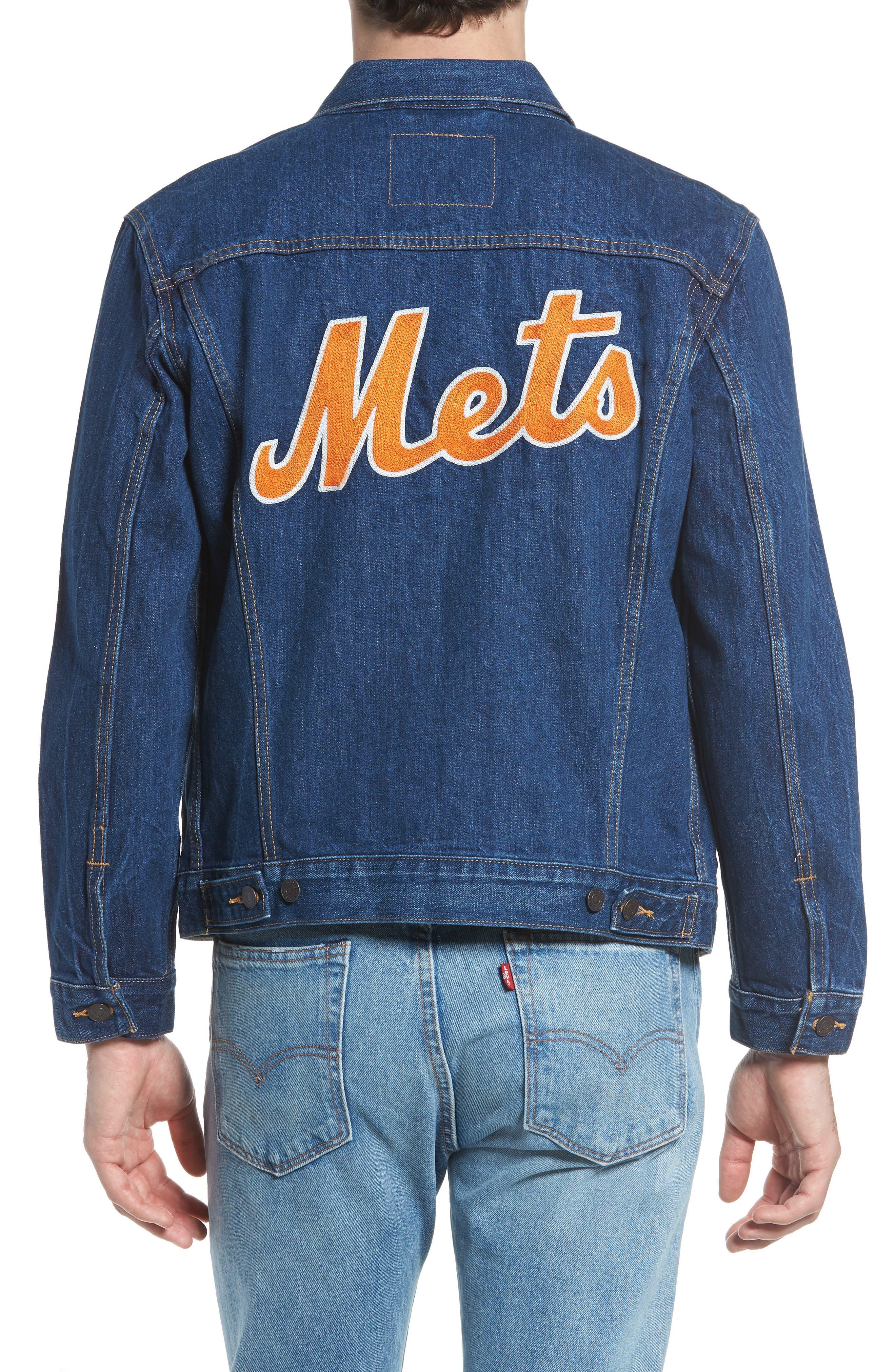 MLB Mets Denim Trucker Jacket,                             Alternate thumbnail 2, color,                             METS