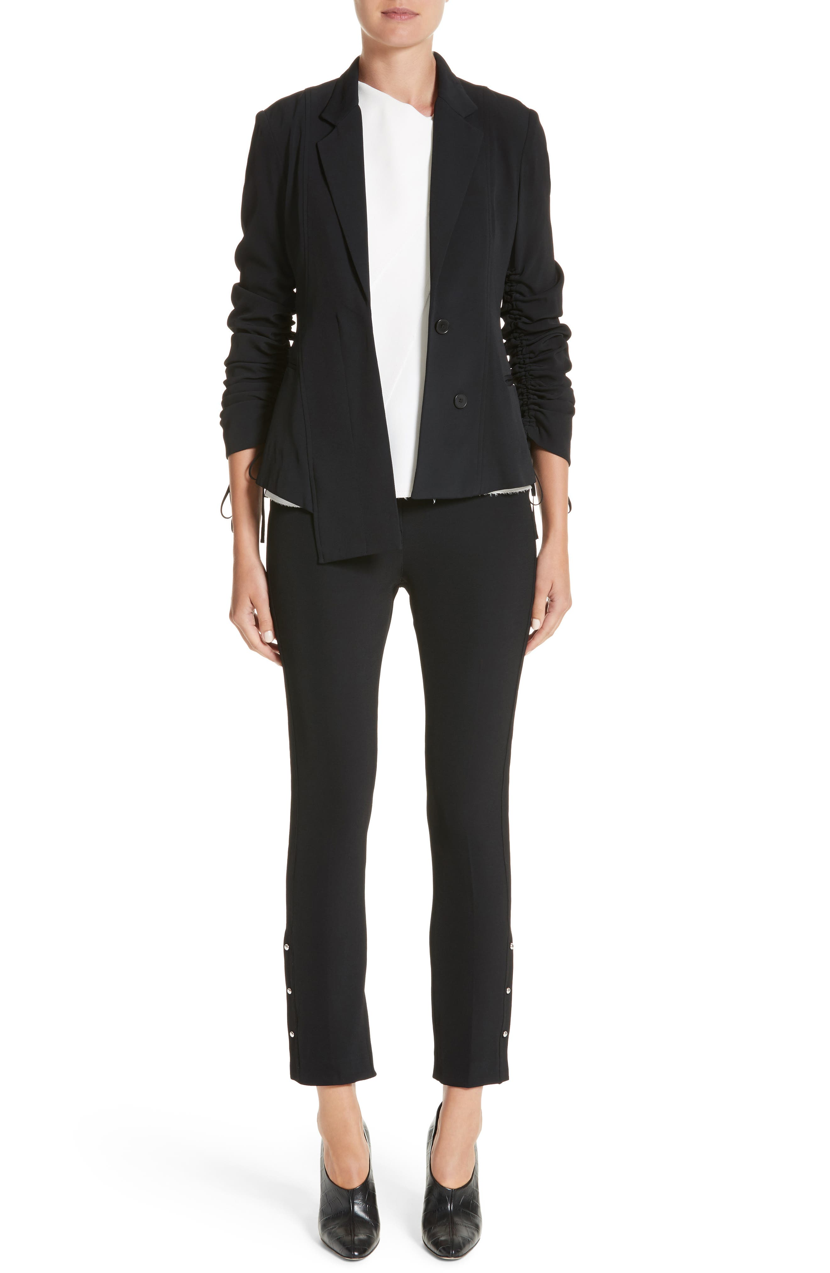 Twill Ruched Sleeve Blazer,                             Alternate thumbnail 7, color,                             001