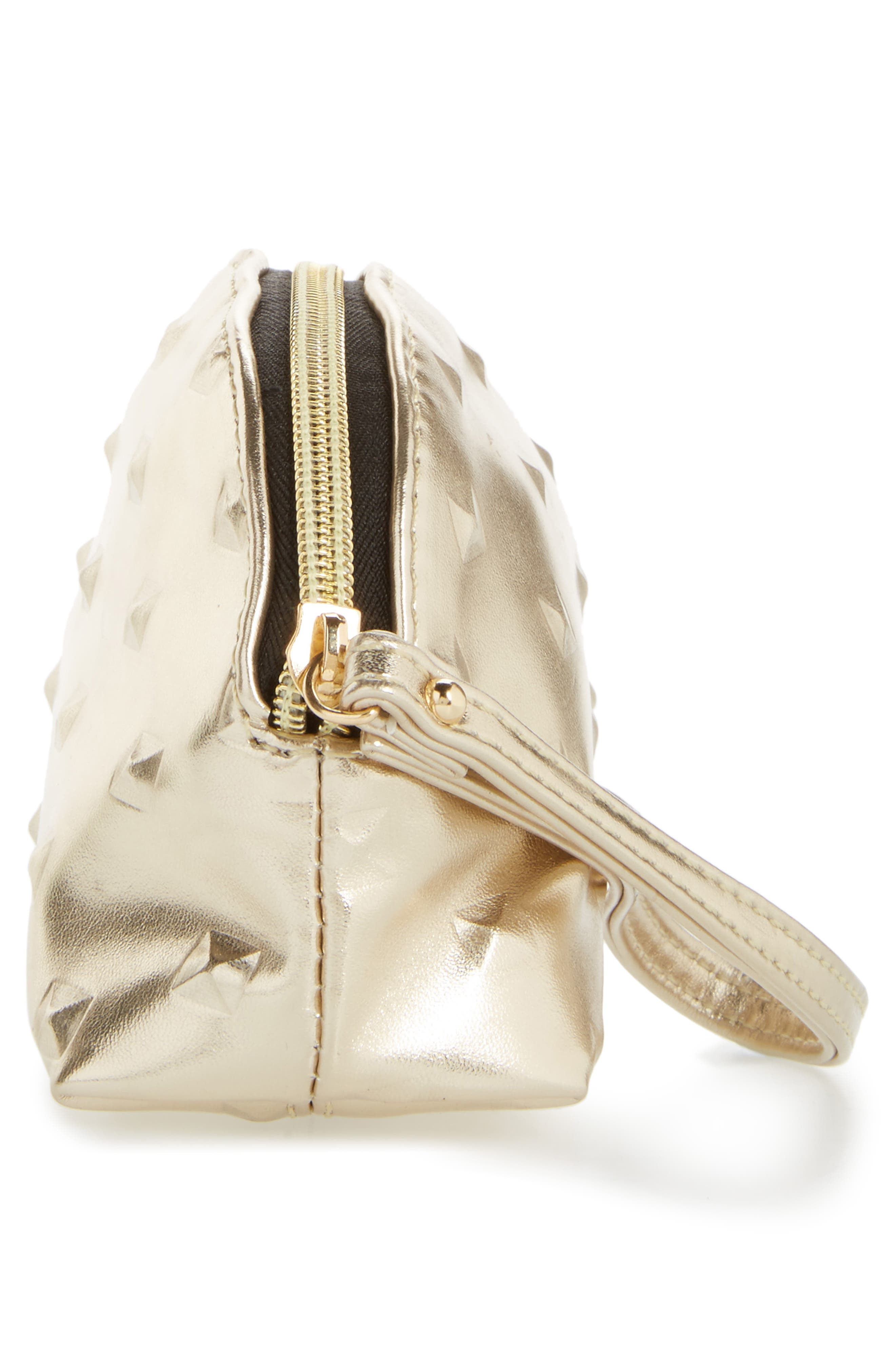 Diamond Embossed Metallic Cosmetics Bag,                             Alternate thumbnail 4, color,
