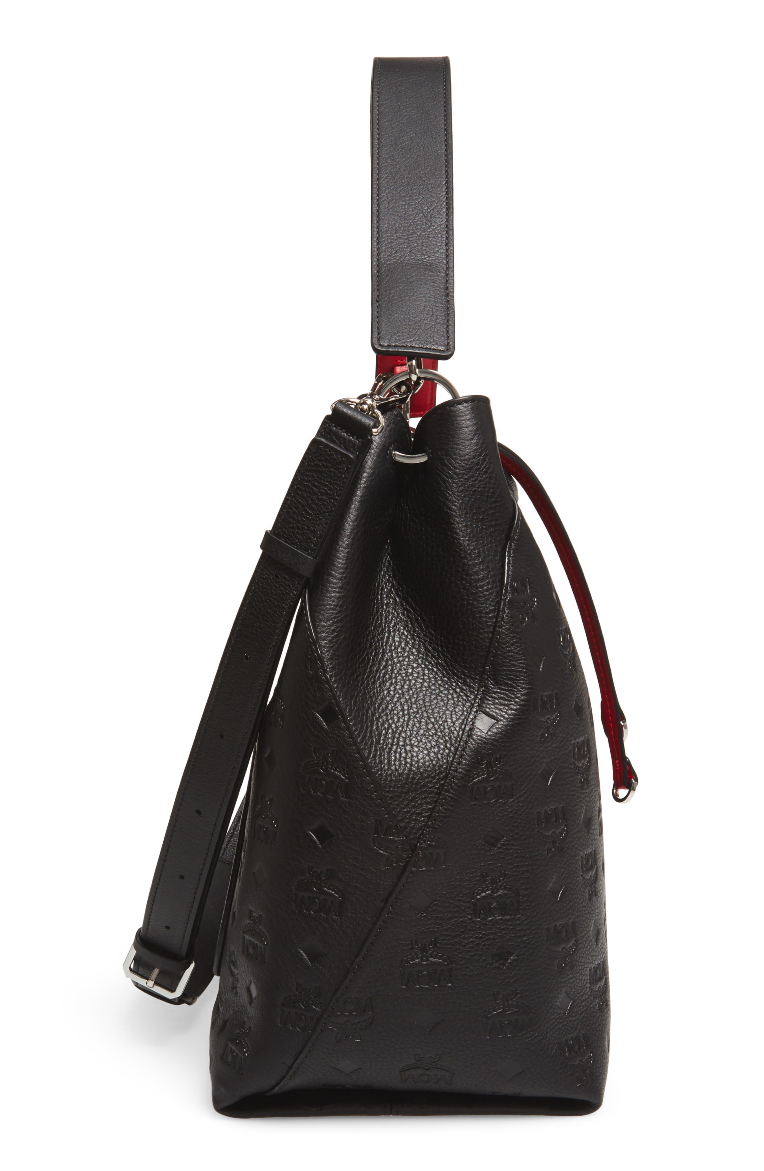 Klara Monogrammed Leather Hobo Bag,                             Alternate thumbnail 5, color,                             BLACK