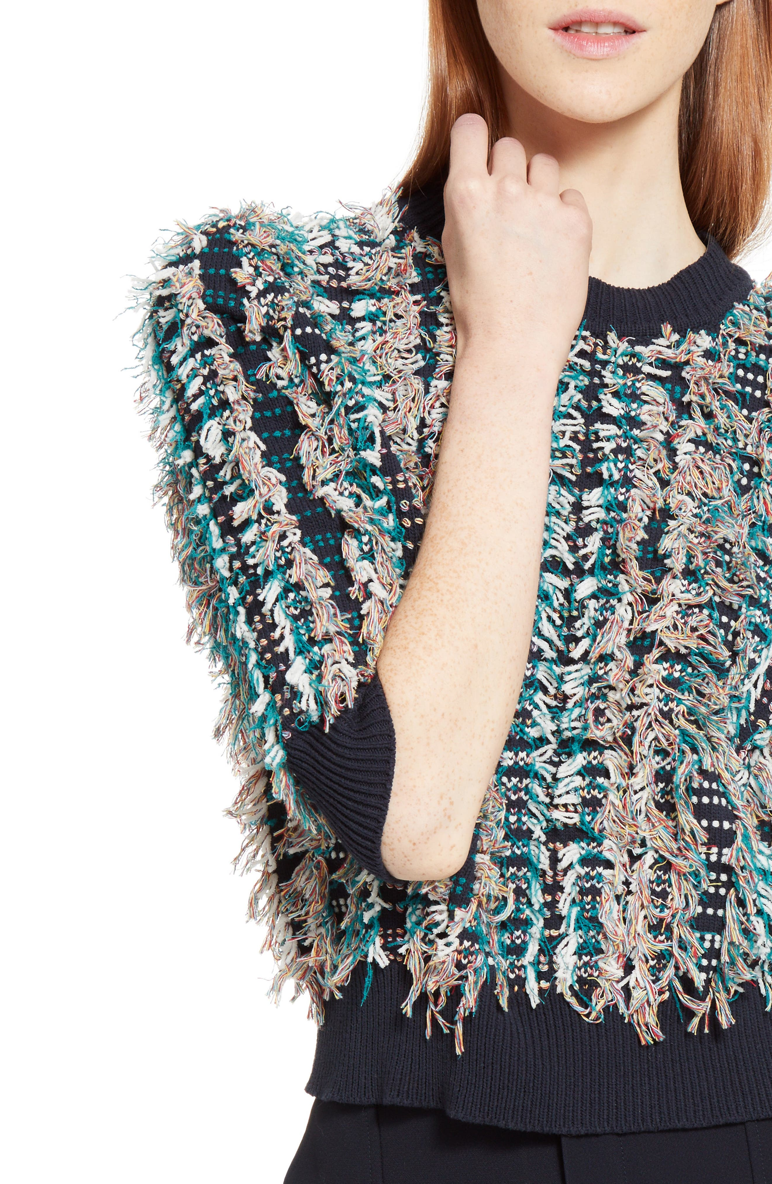 Fringe Knit Sweater,                             Alternate thumbnail 4, color,                             400