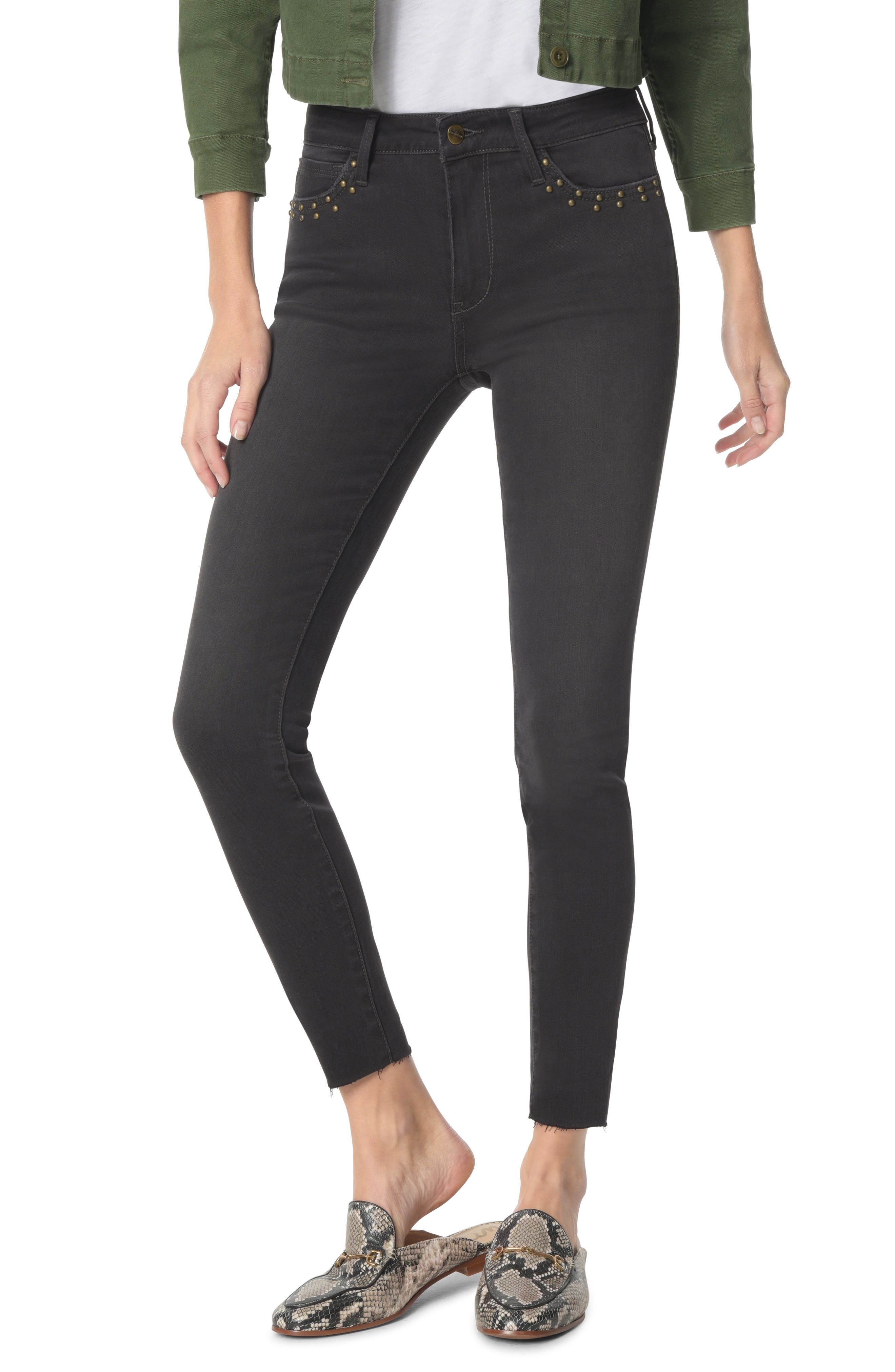 The Kitten Studded Ankle Skinny Jeans,                         Main,                         color, TATEUM