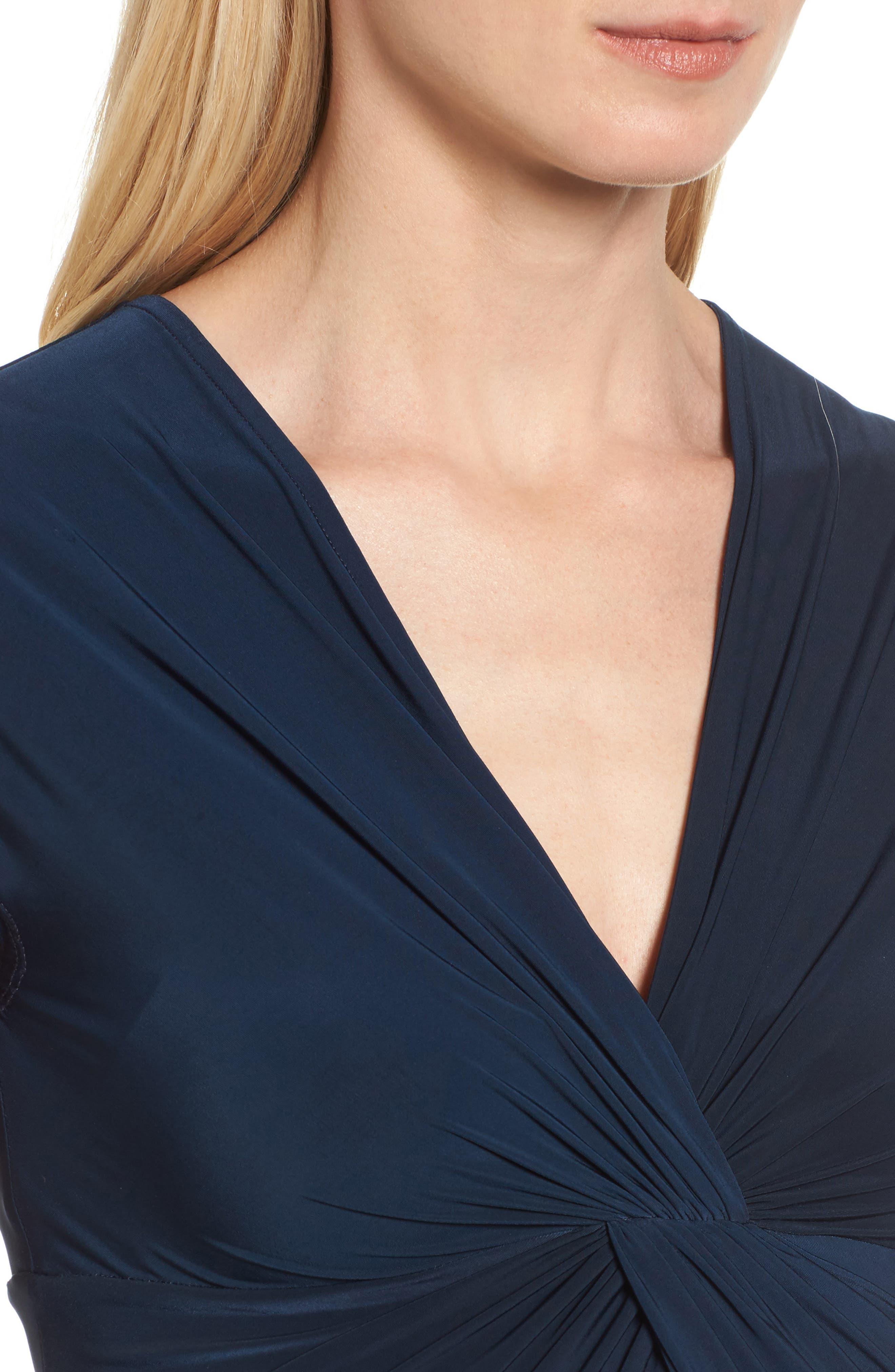 'Carla' Knot Front Jersey Maternity Dress,                             Alternate thumbnail 4, color,                             DARKEST NAVY