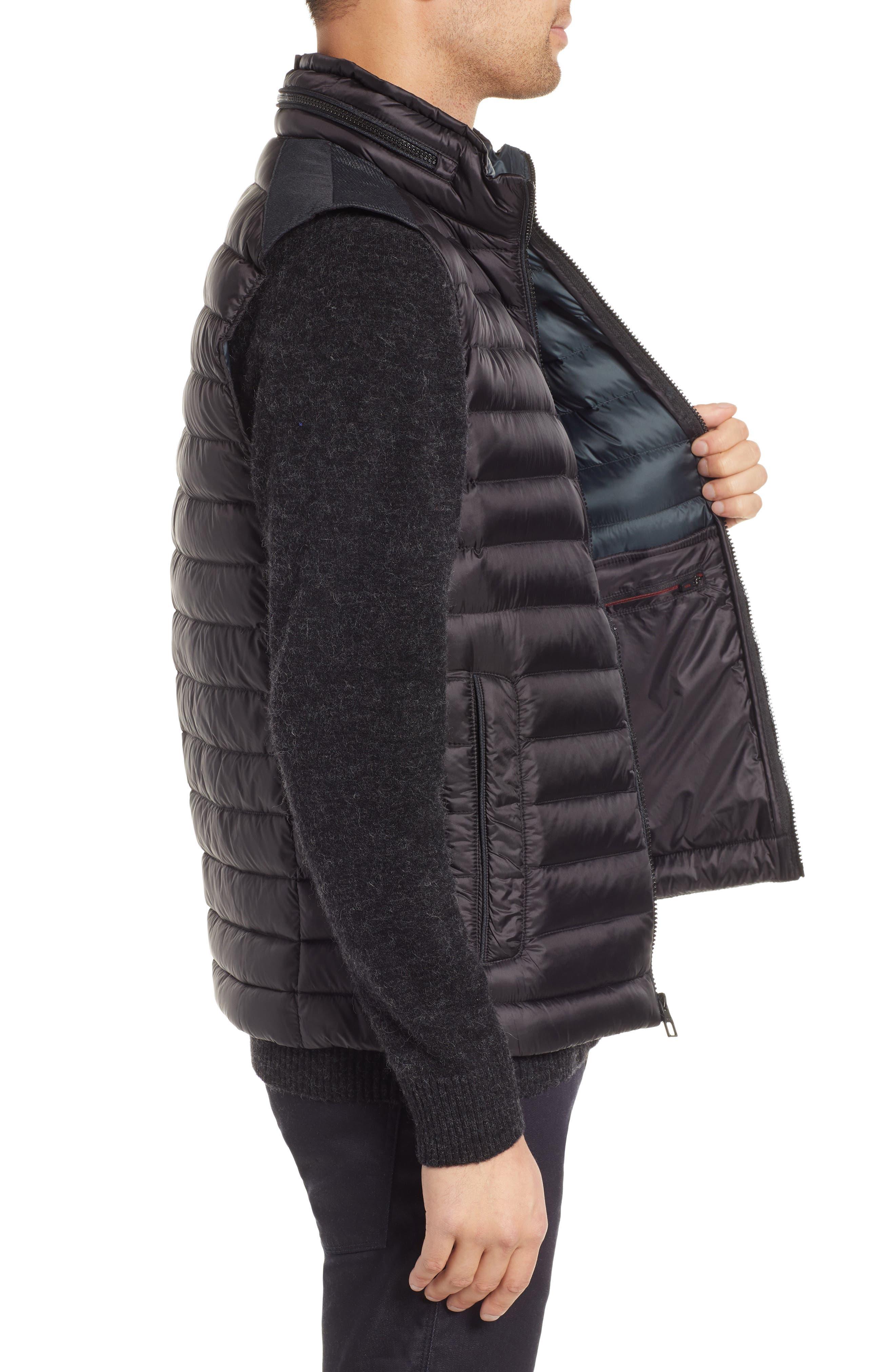Down Puffer Hooded Vest,                             Alternate thumbnail 3, color,                             BLACK