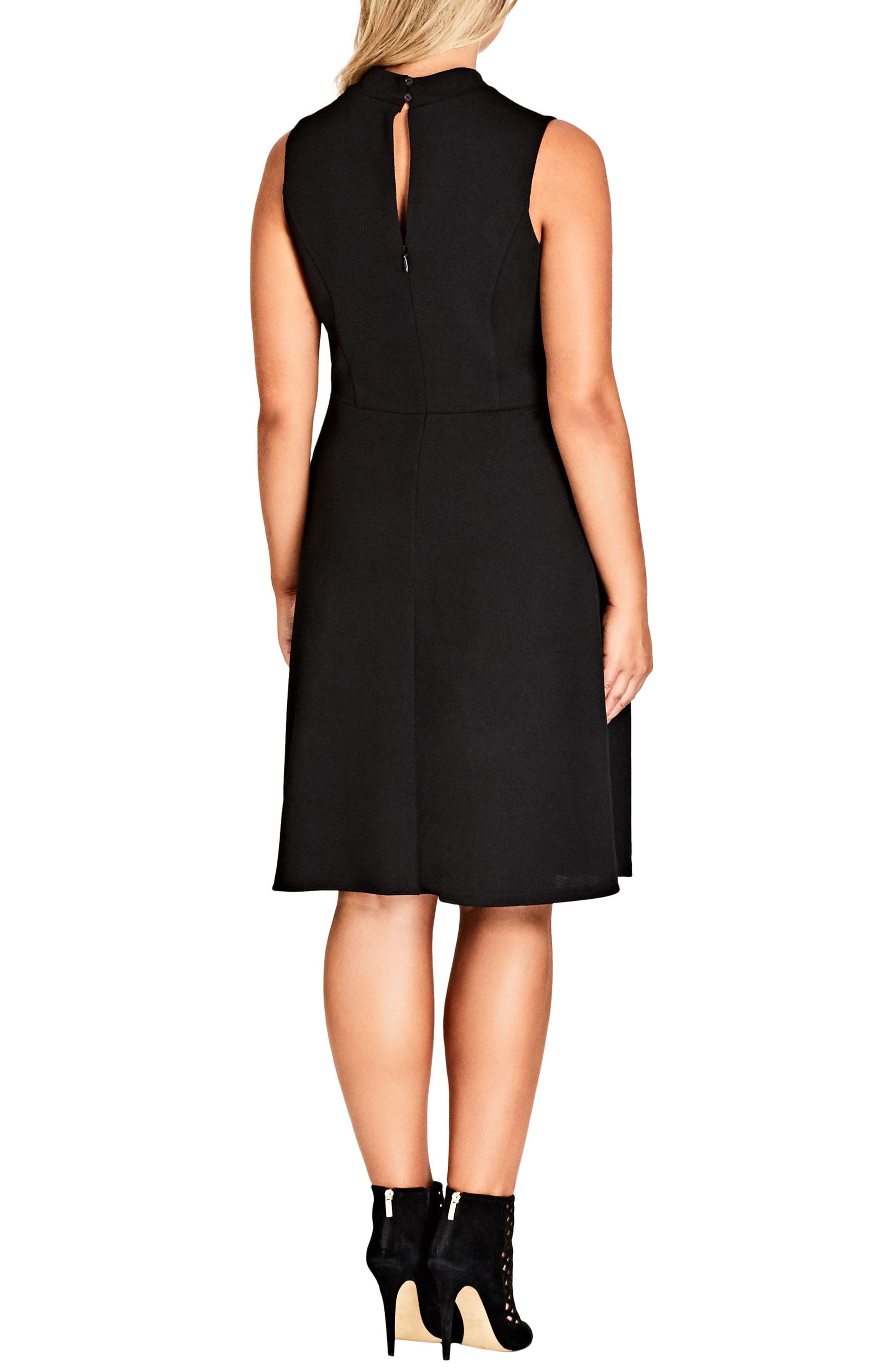Sheer Neck A-Line Dress,                             Alternate thumbnail 2, color,                             001