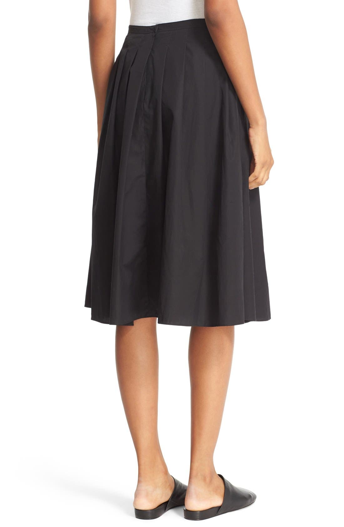 VINCE,                             Multi Pleated Cotton Skirt,                             Alternate thumbnail 3, color,                             001