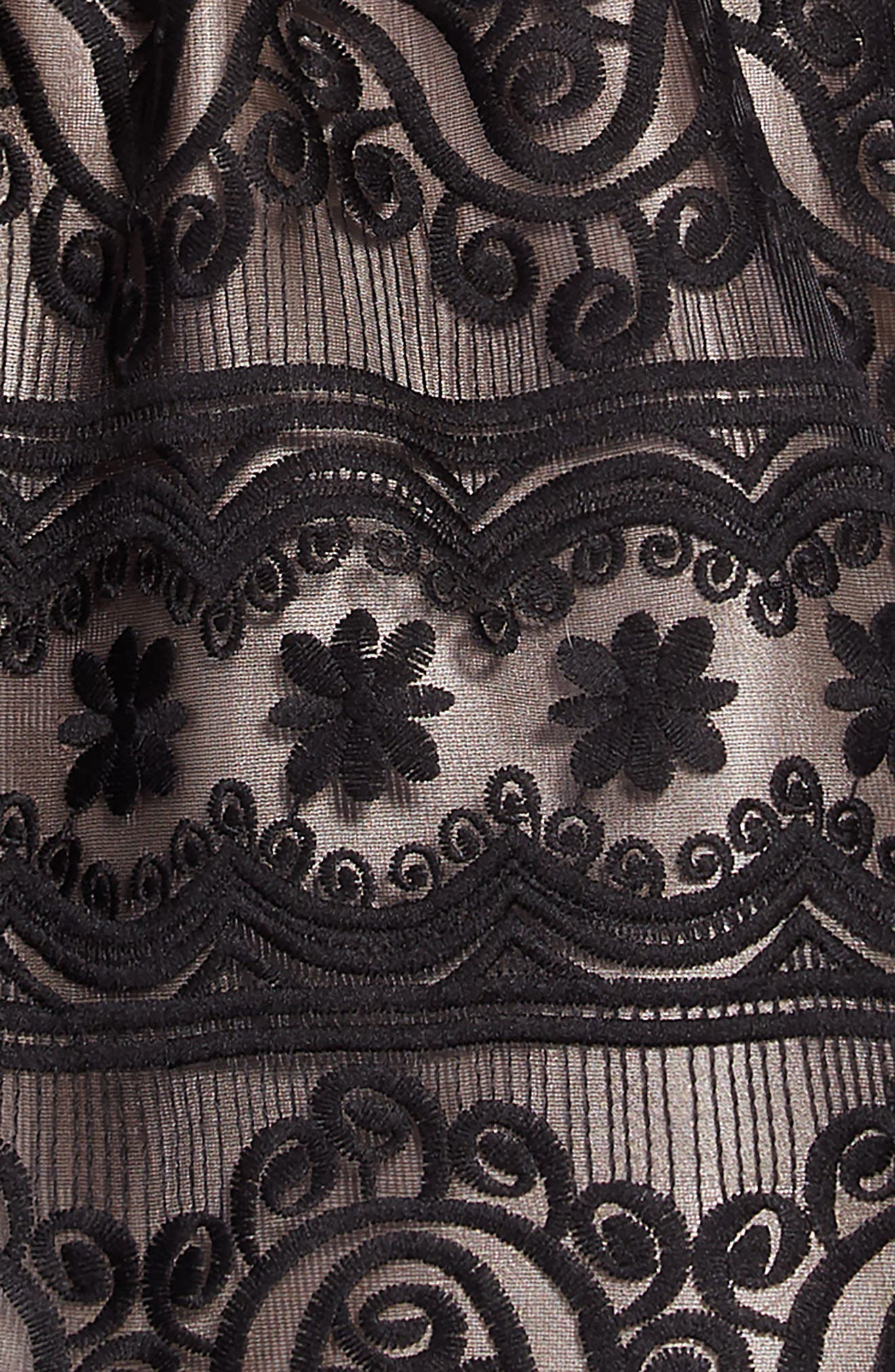 Embroidered Dress,                             Alternate thumbnail 3, color,                             BLACK