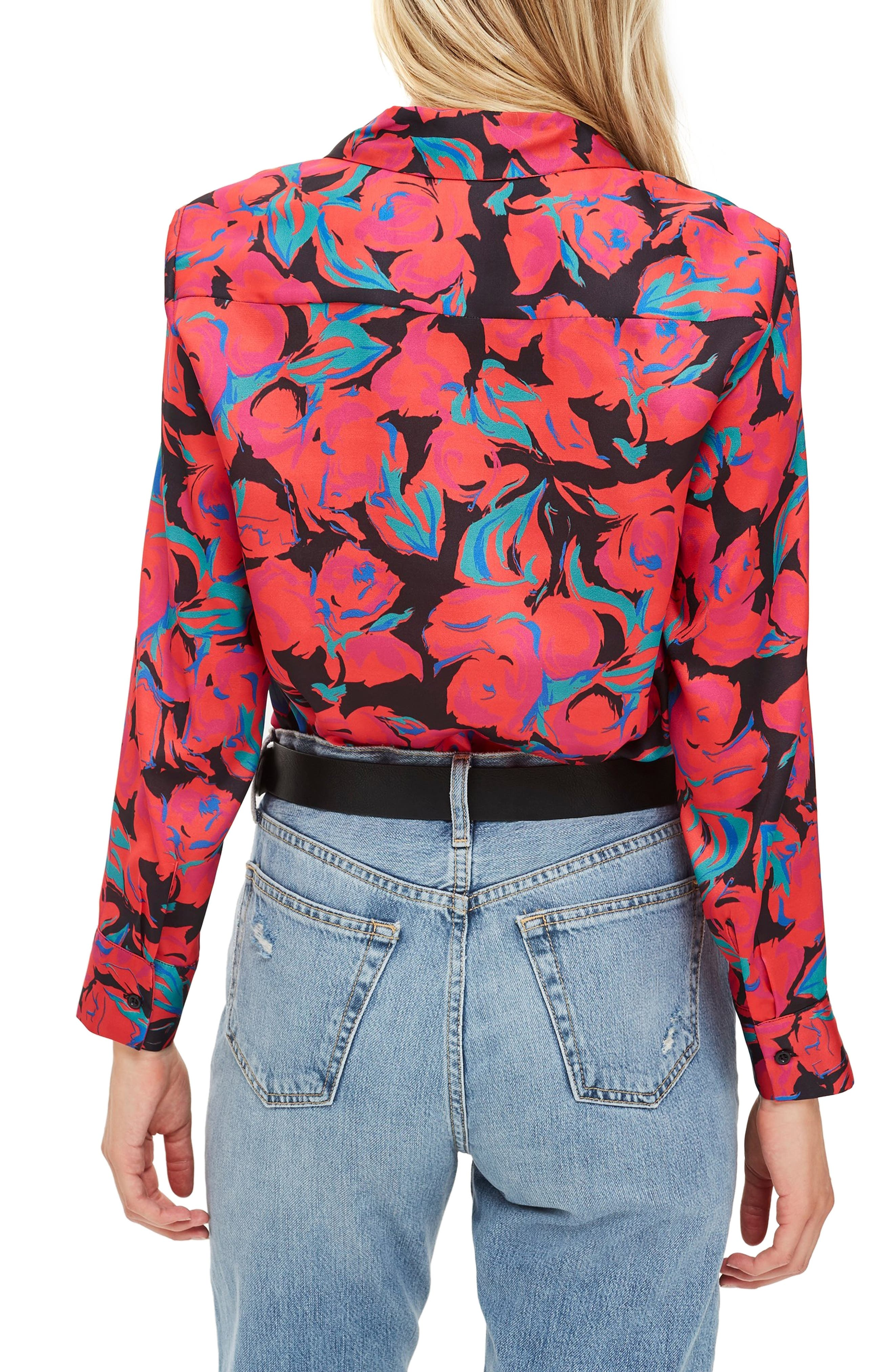 Floral Pajama Style Shirt,                             Alternate thumbnail 2, color,                             RED MULTI