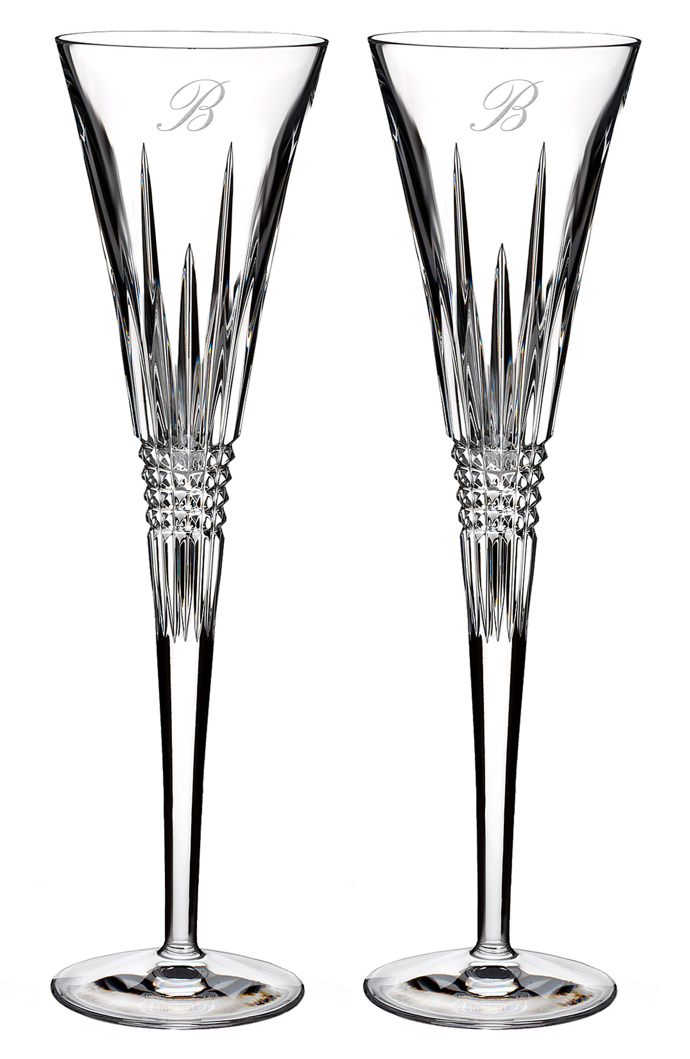 Lismore Diamond Set of 2 Monogram Lead Crystal Champagne Flutes,                         Main,                         color, CLEAR - B