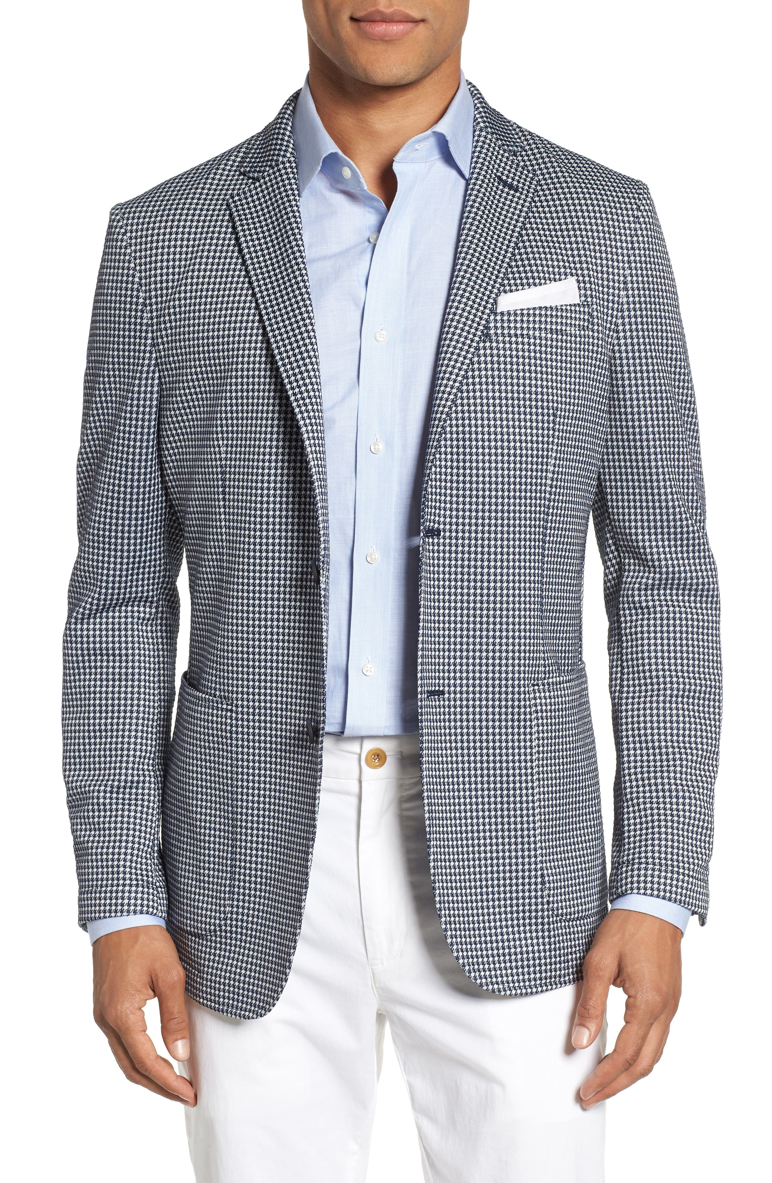Slim Fit Stretch Houndstooth Sport Coat,                         Main,                         color, 410