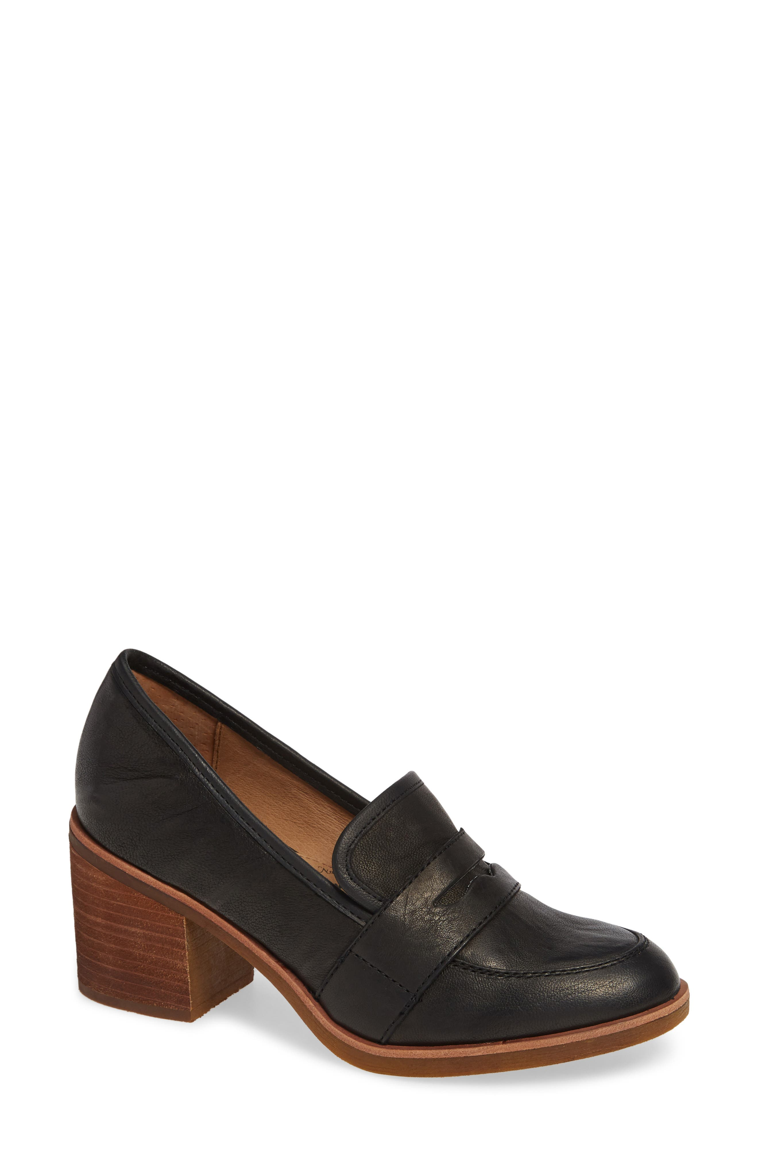 Sophia Loafer Pump,                             Main thumbnail 1, color,                             BLACK LEATHER