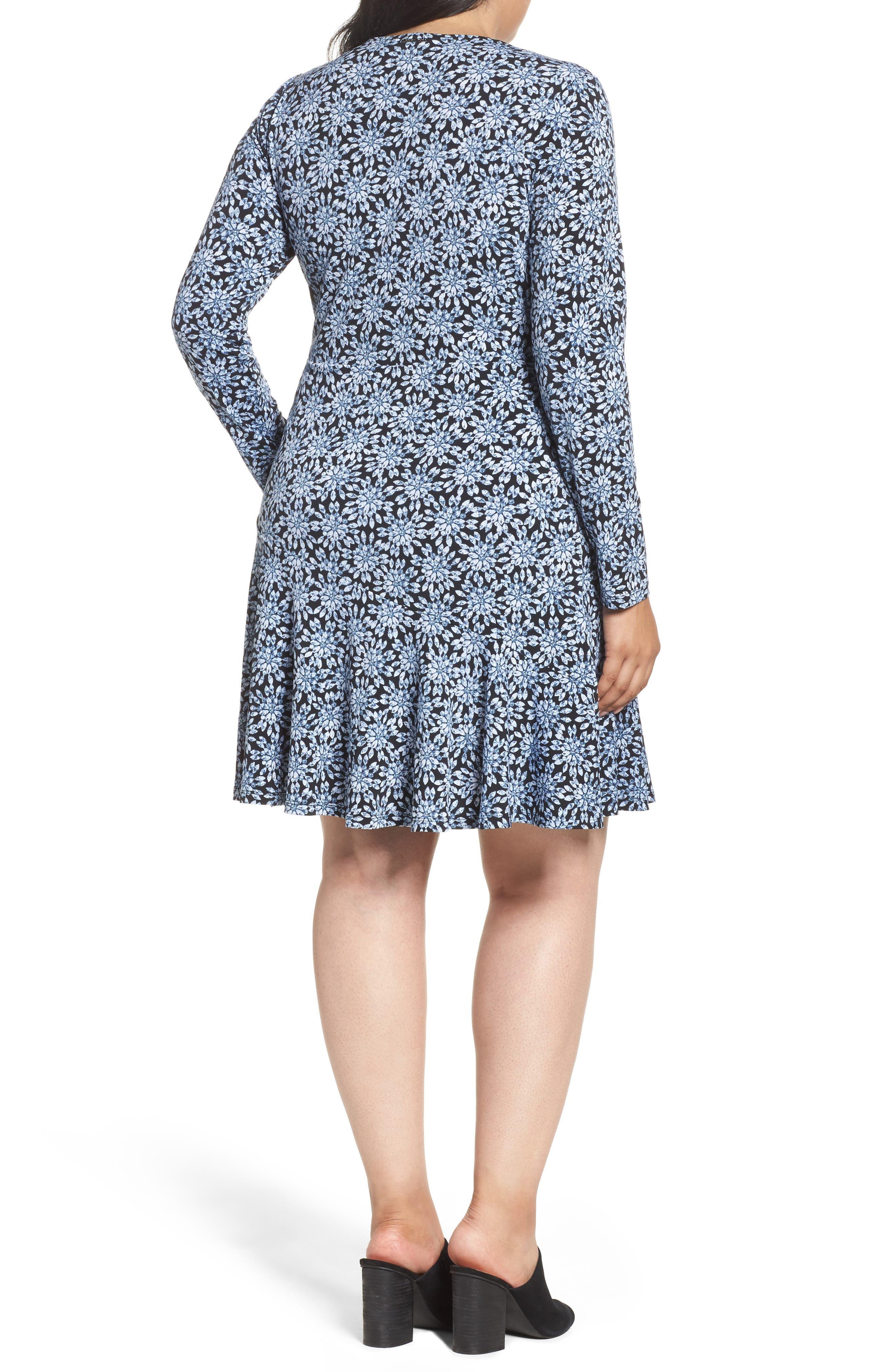 Print Faux Wrap Dress,                             Alternate thumbnail 2, color,                             468