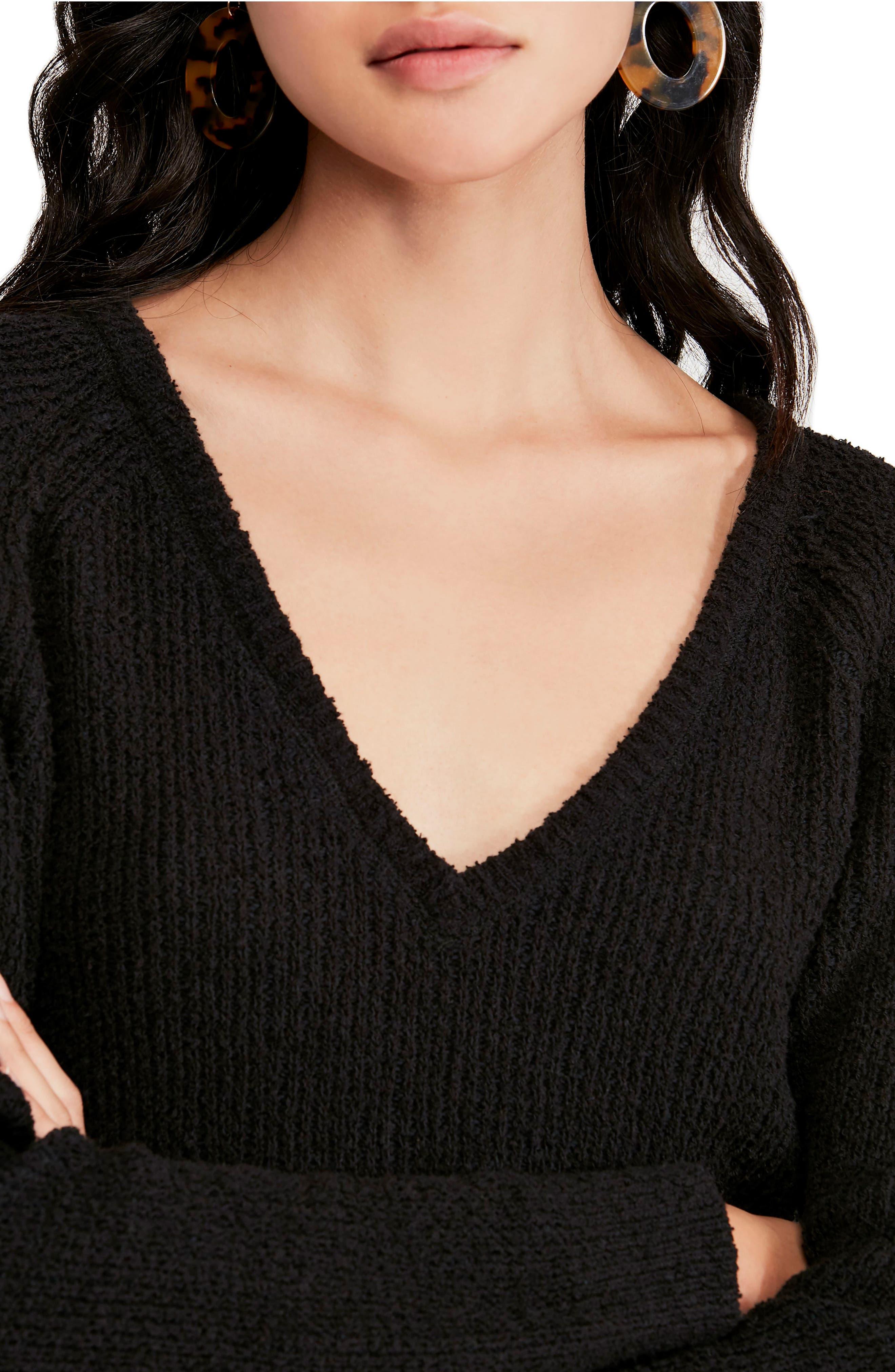 FREE PEOPLE,                             V-Neck Sweater,                             Alternate thumbnail 4, color,                             BLACK