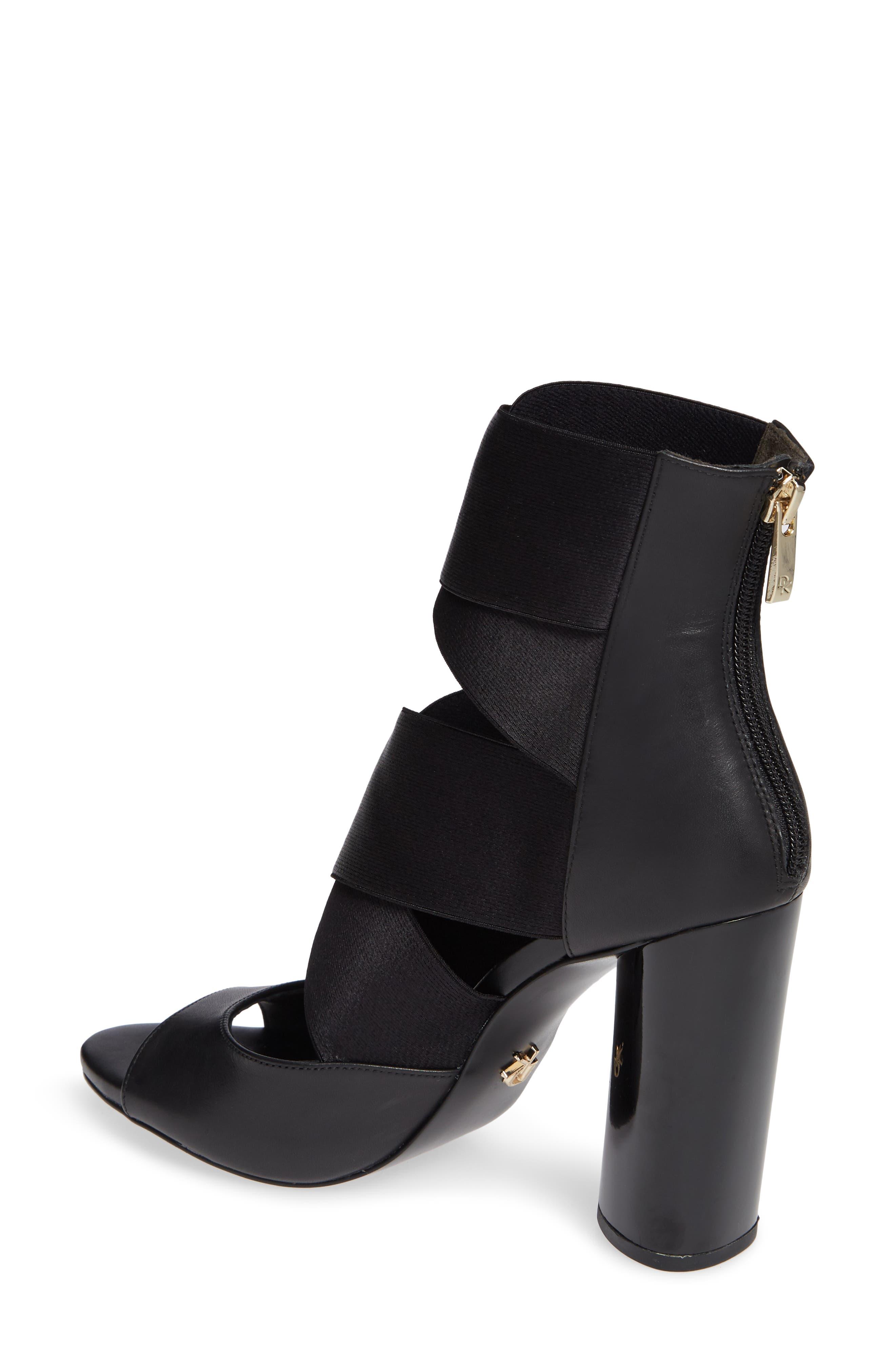Donna Karan Briana Strappy High Sandal,                             Alternate thumbnail 2, color,                             BLACK CALF SHINY SATIN ELASTIC