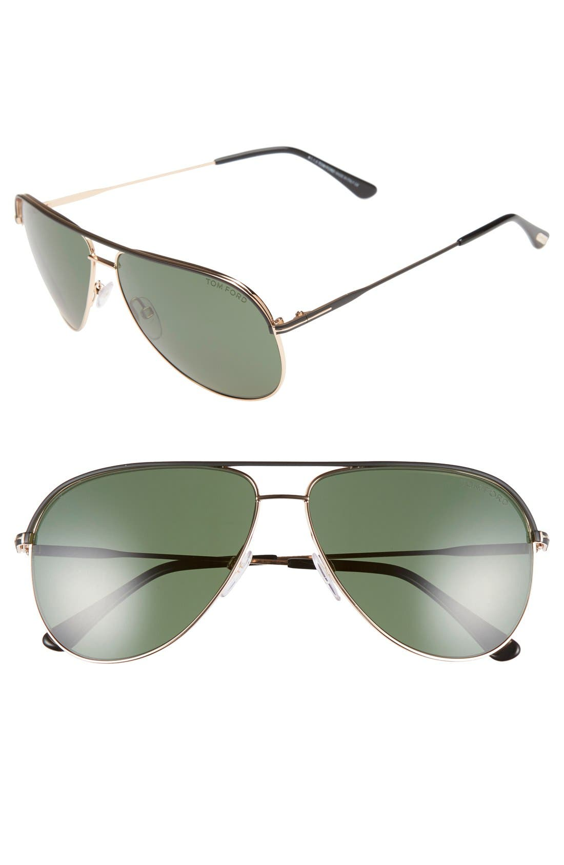 'Erin' 61mm Aviator Sunglasses,                         Main,                         color, 001
