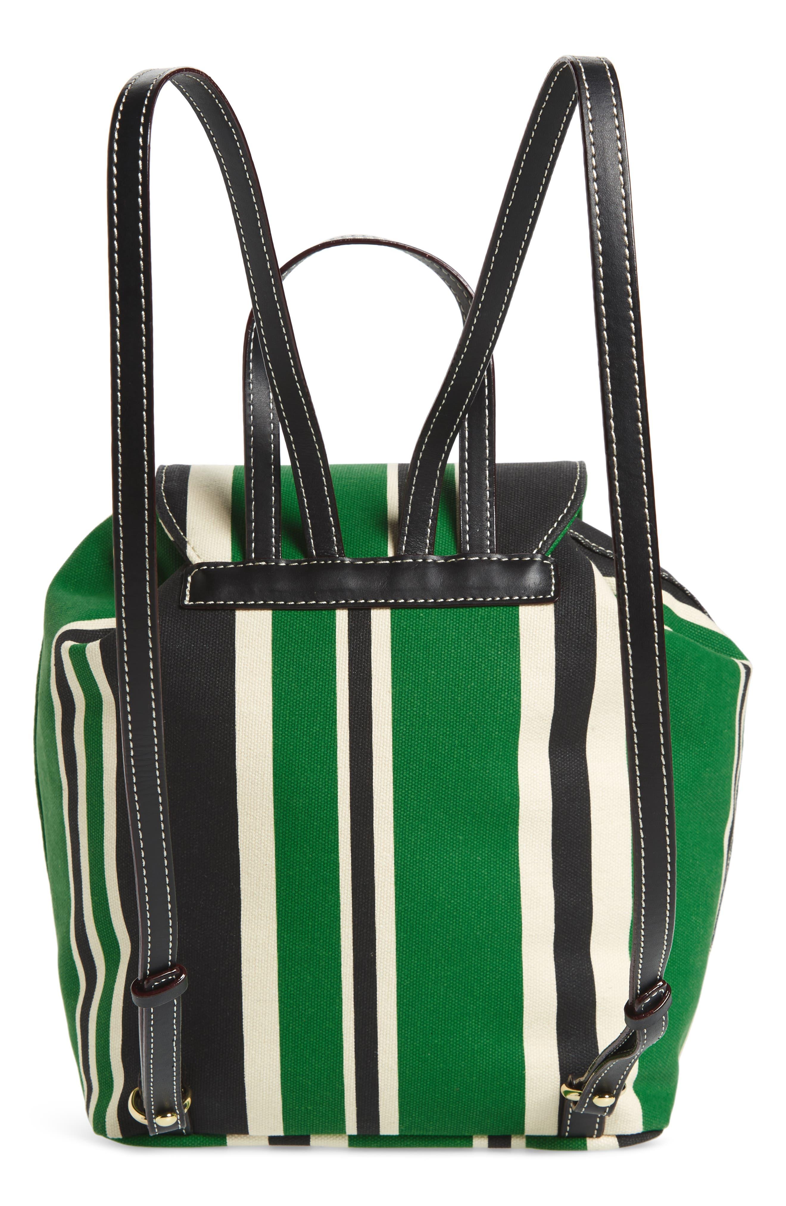 Ann Stripe Canvas Drawstring Backpack,                             Alternate thumbnail 3, color,                             300