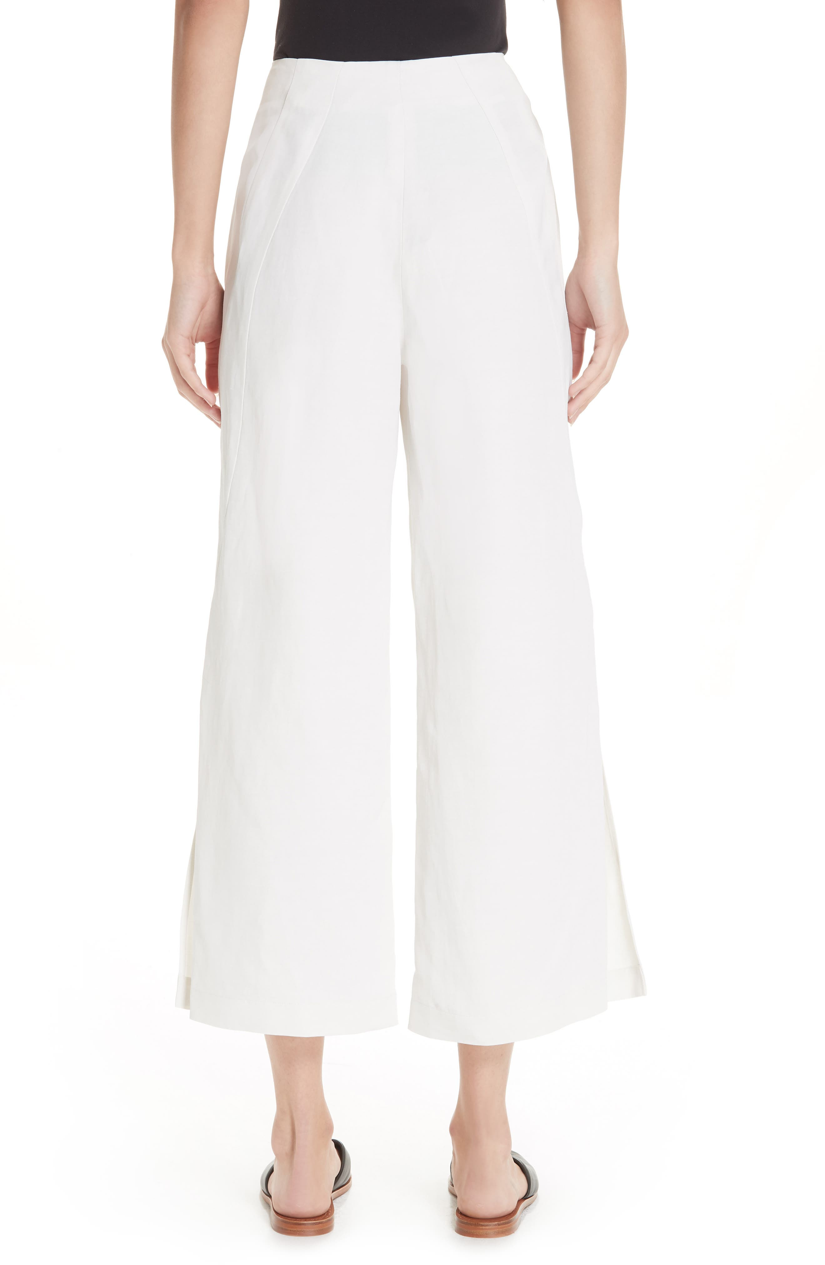 Tin Side Slit Crop Pants,                             Alternate thumbnail 2, color,                             WHITE PEPPER