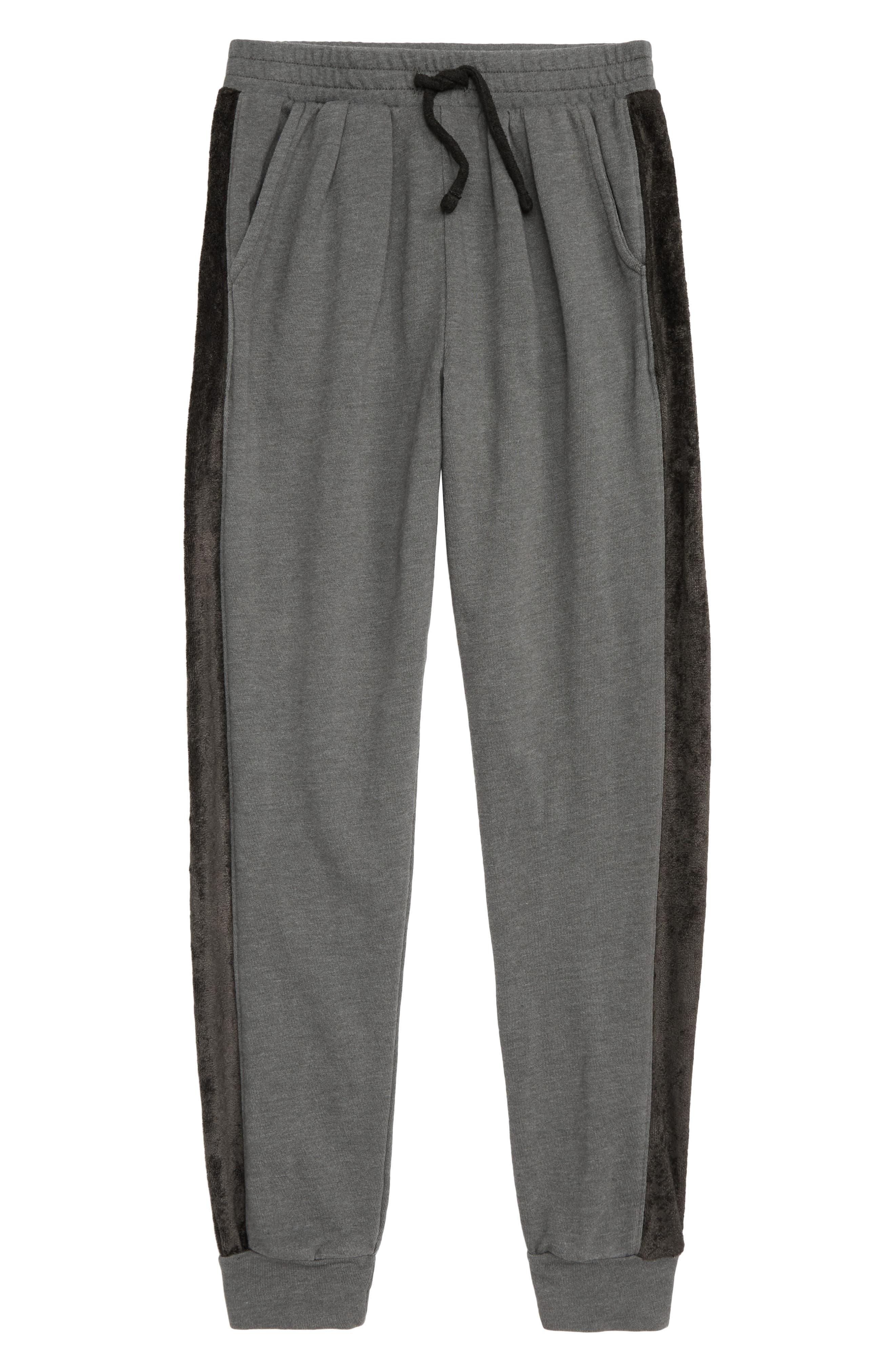 Velour Stripe Jogger Pants,                             Main thumbnail 1, color,                             GREY COBBLE
