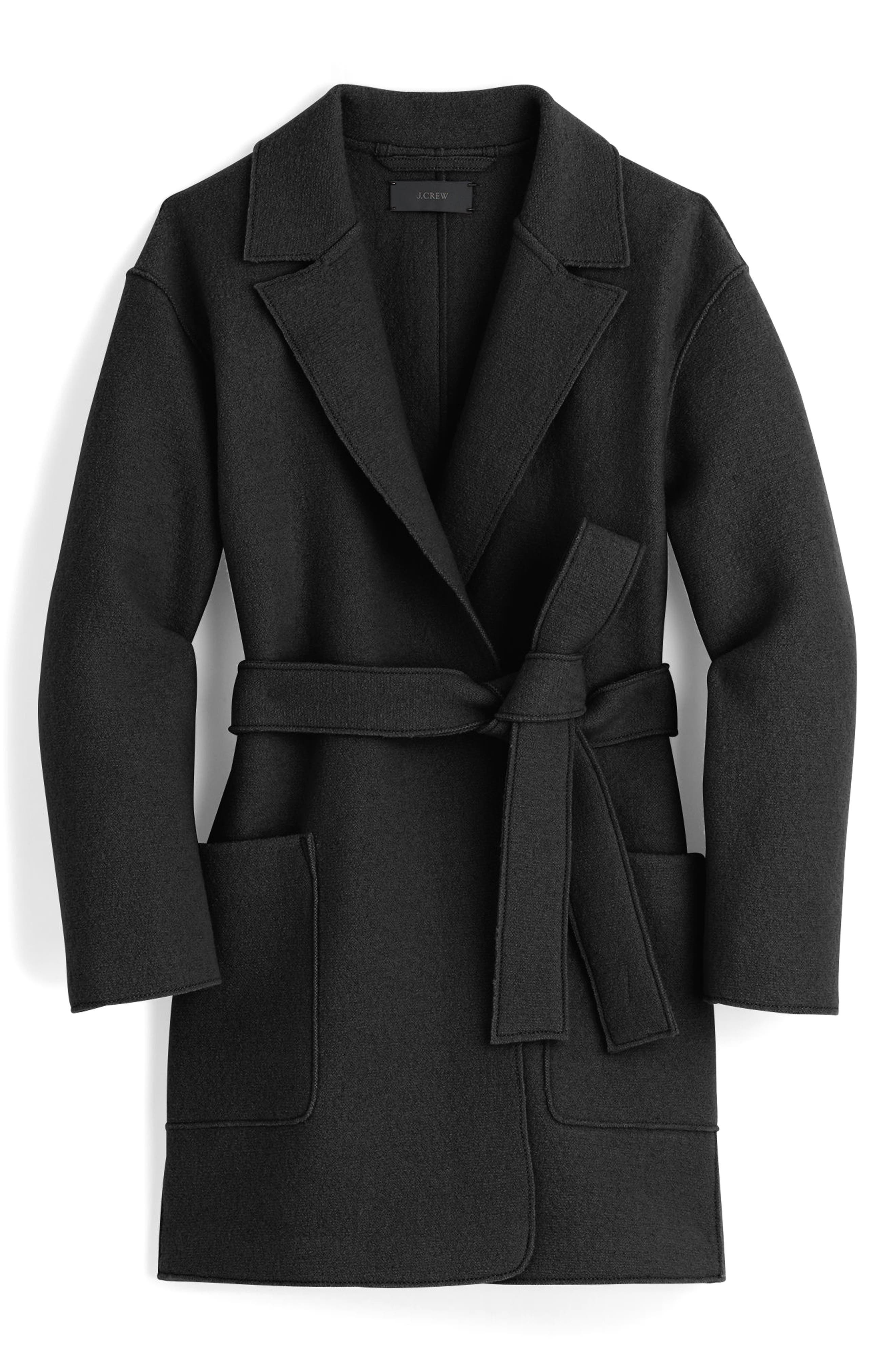 Sabrina Boiled Wool Wrap Coat,                             Main thumbnail 1, color,                             001
