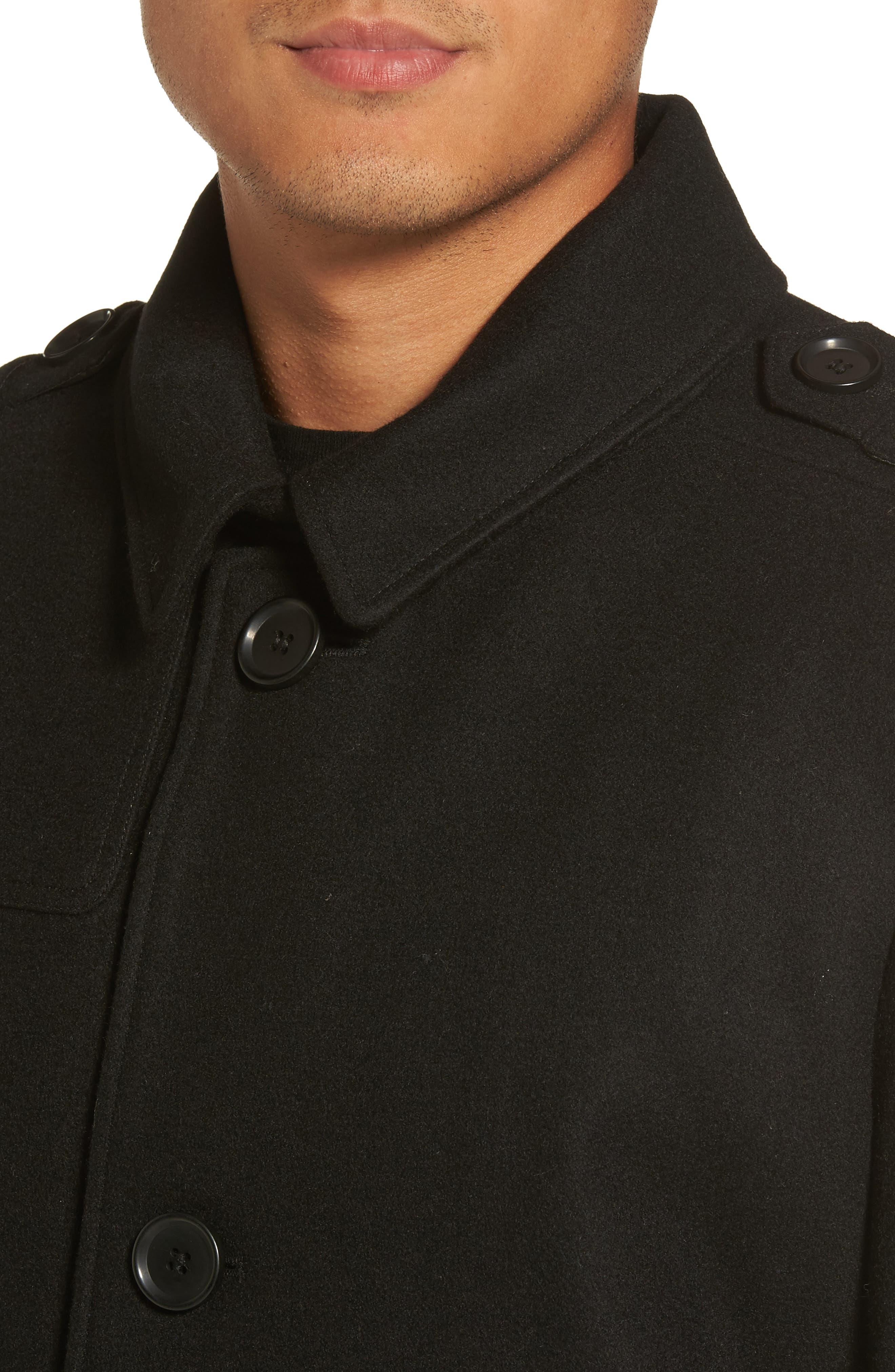 Wool Blend Overcoat,                             Alternate thumbnail 4, color,                             001