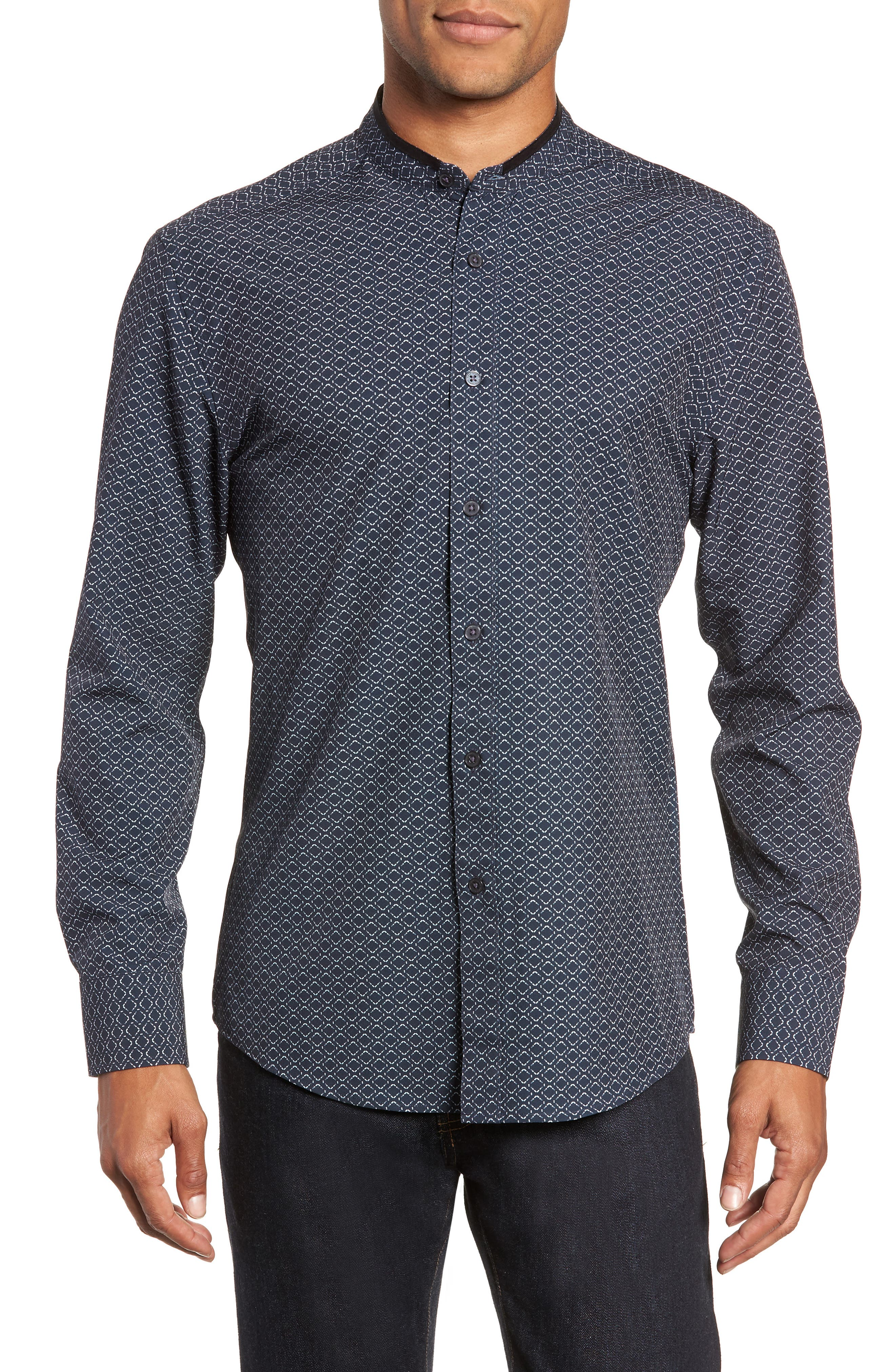 Vince Camuto Band Collar Performance Knit Sport Shirt, Blue