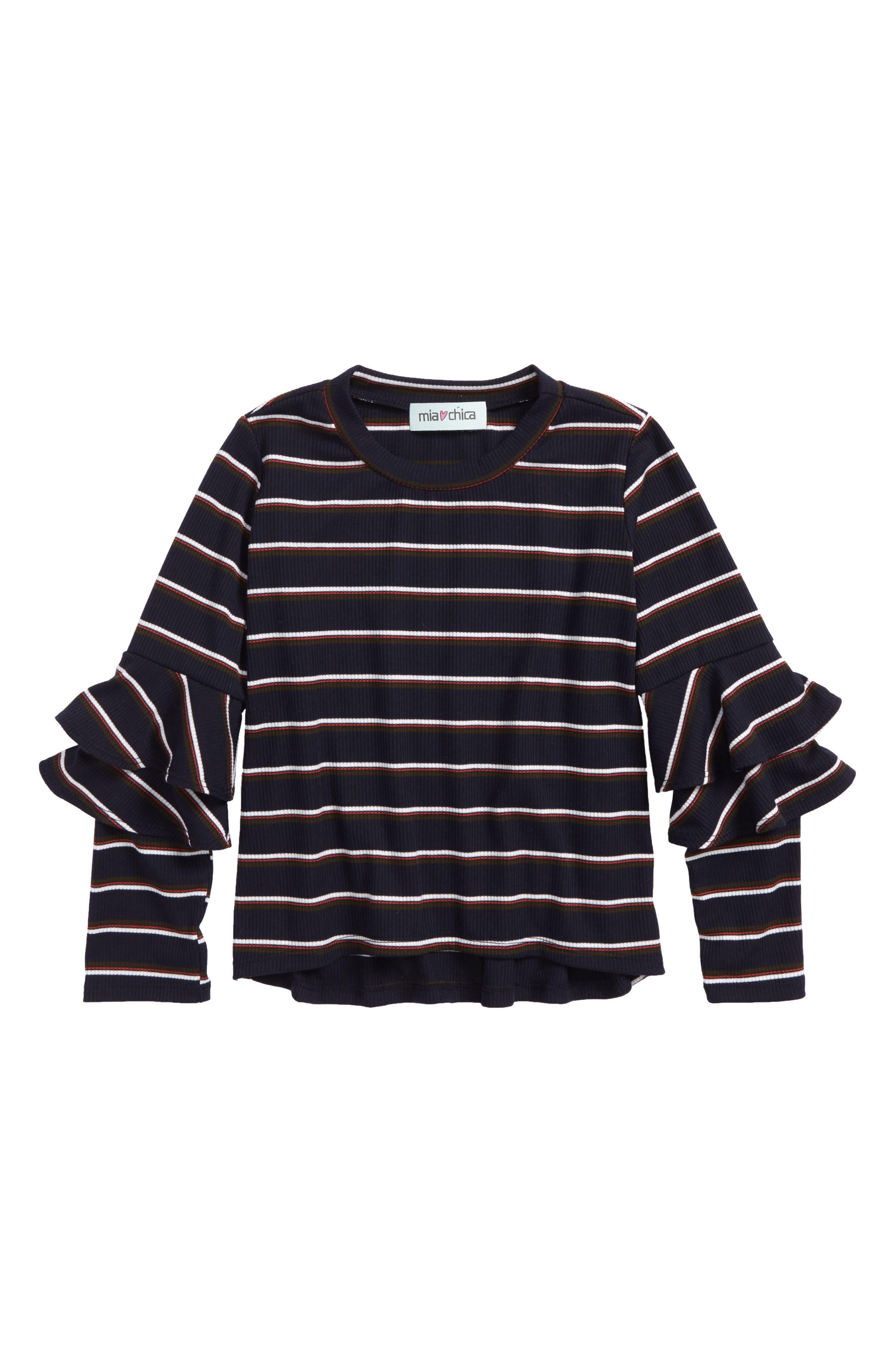 Ruffle Sleeve Stripe Top,                         Main,                         color,