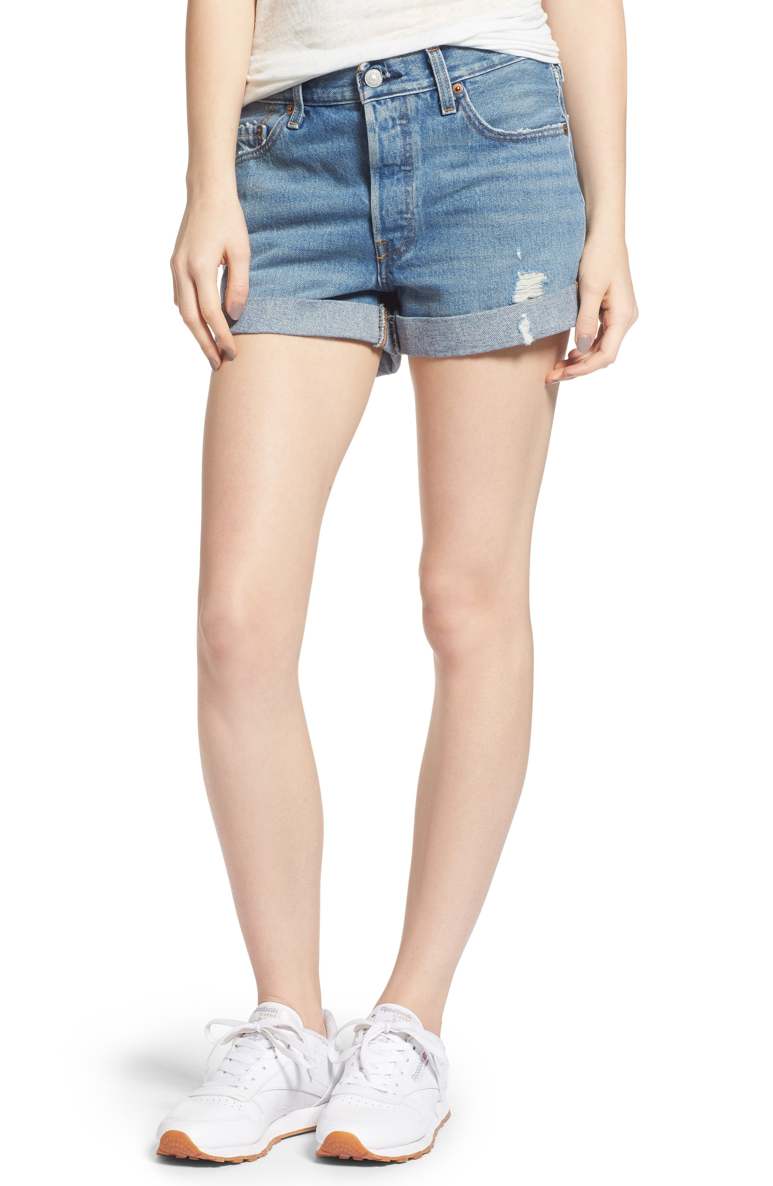 501<sup>®</sup> Long Denim Shorts,                         Main,                         color, 420