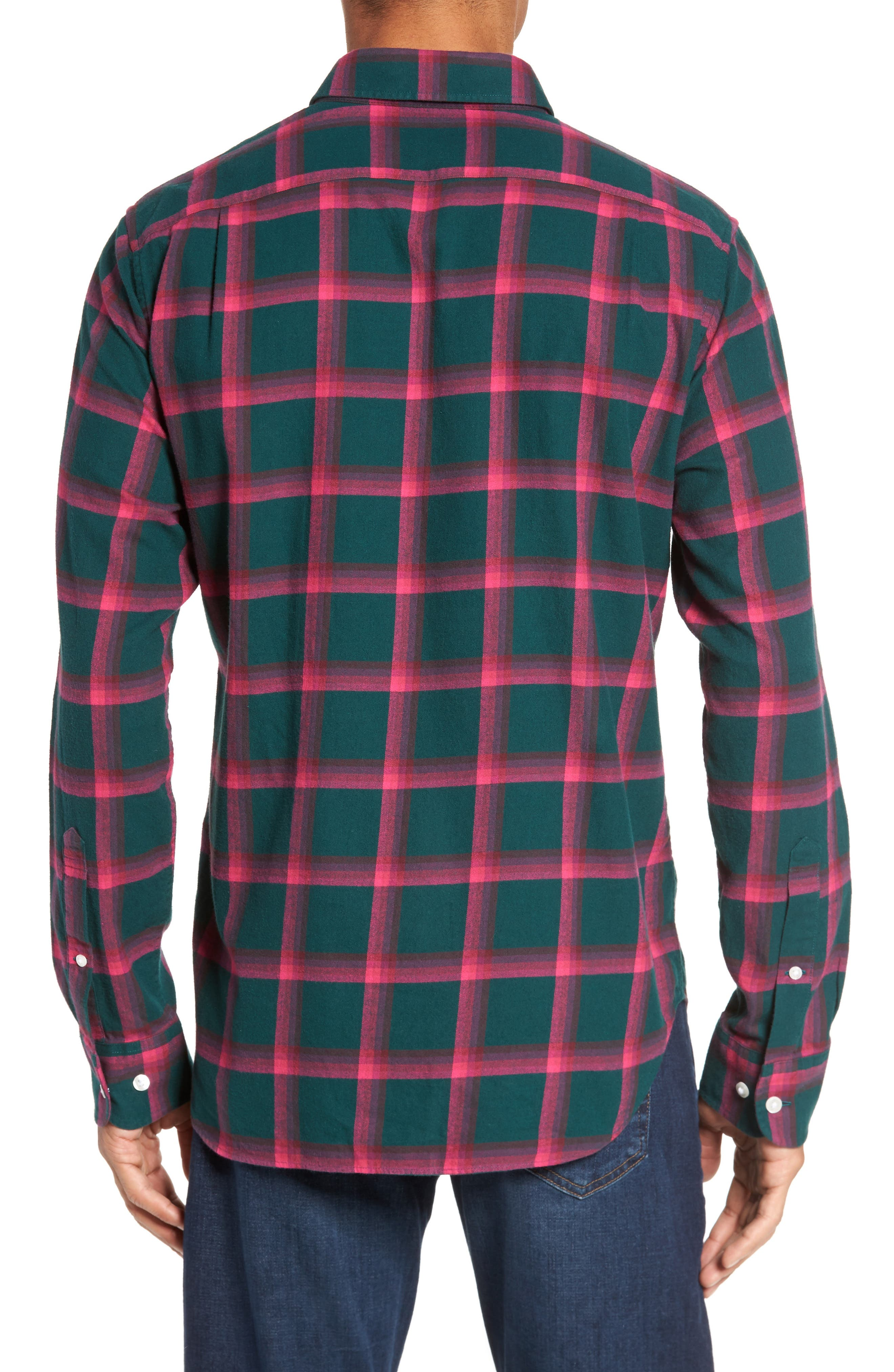 Slim Fit Brushed Windowpane Sport Shirt,                             Alternate thumbnail 2, color,