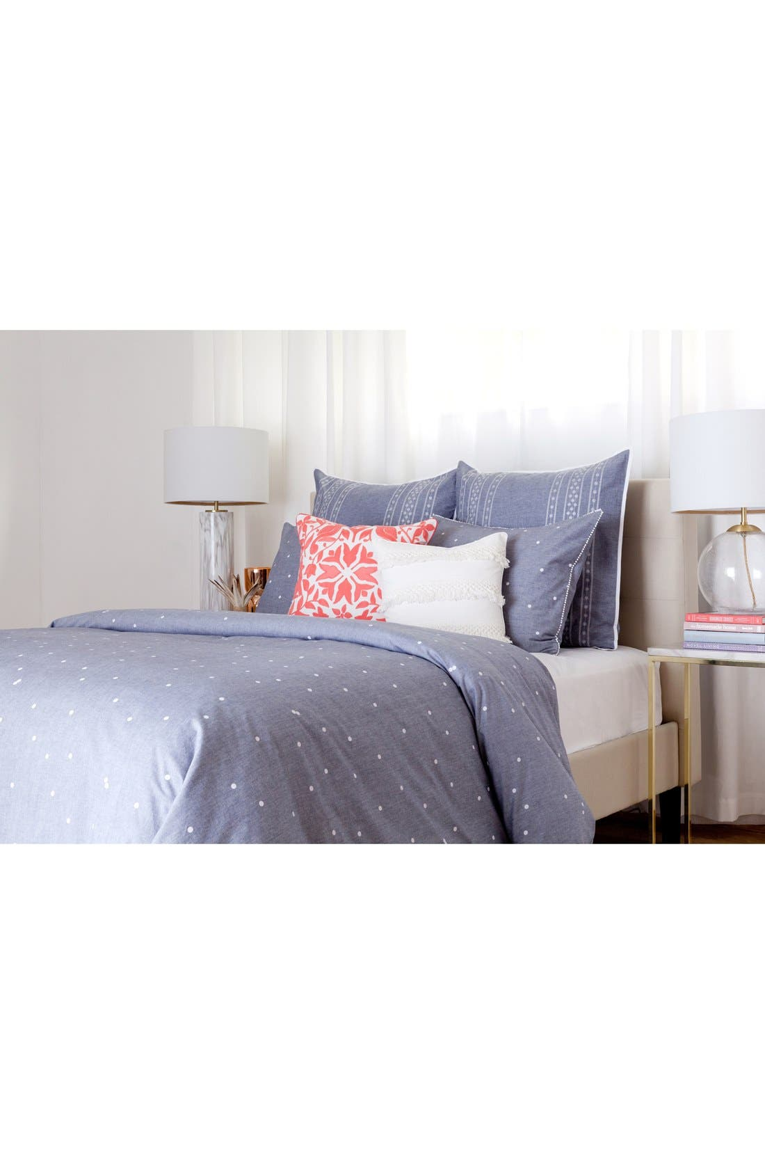 cupcakes & cashmere Chambray Dot Duvet Cover,                             Alternate thumbnail 2, color,                             400