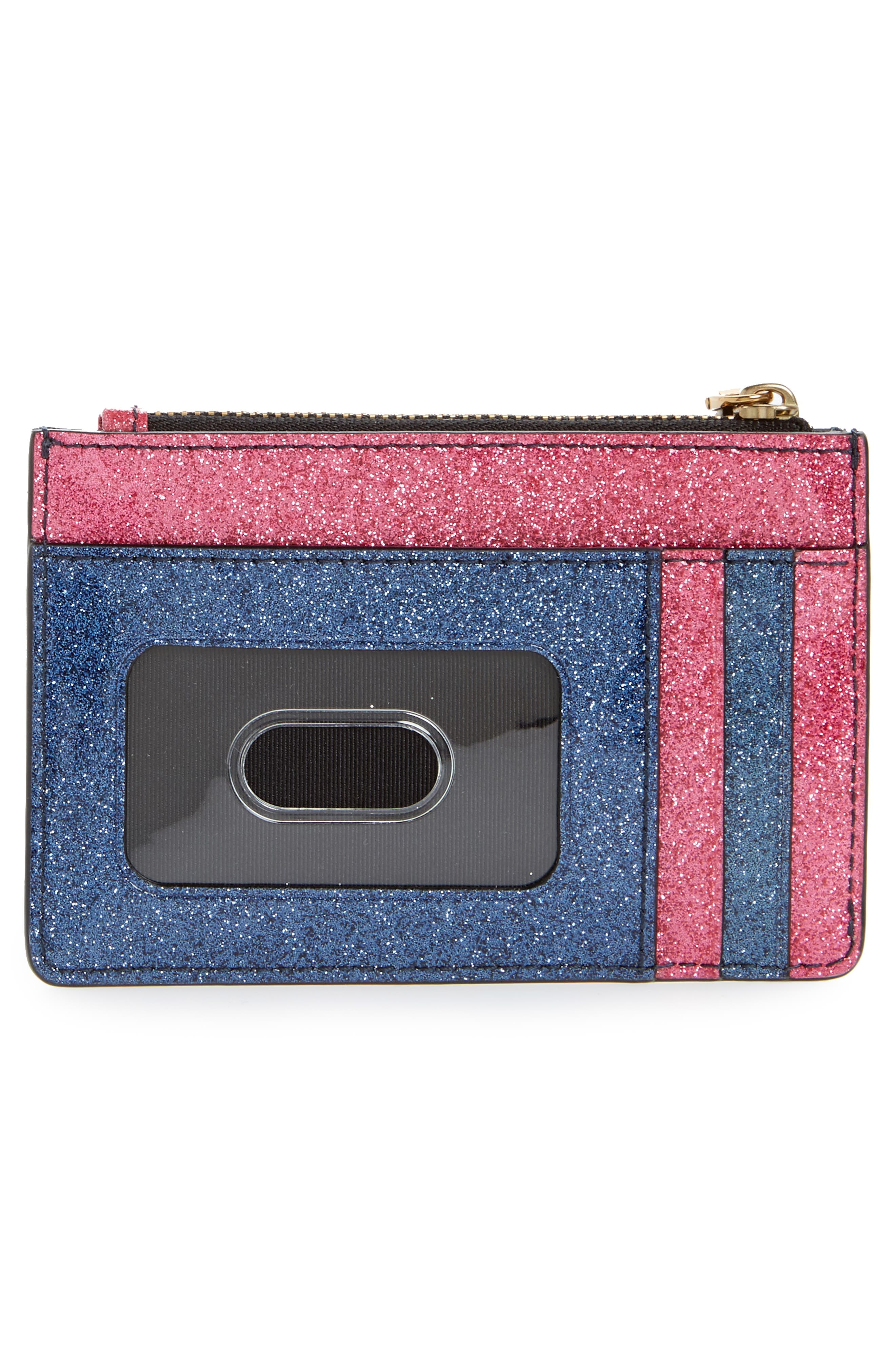 Glitter Stripe Leather Wallet,                             Alternate thumbnail 4, color,                             651