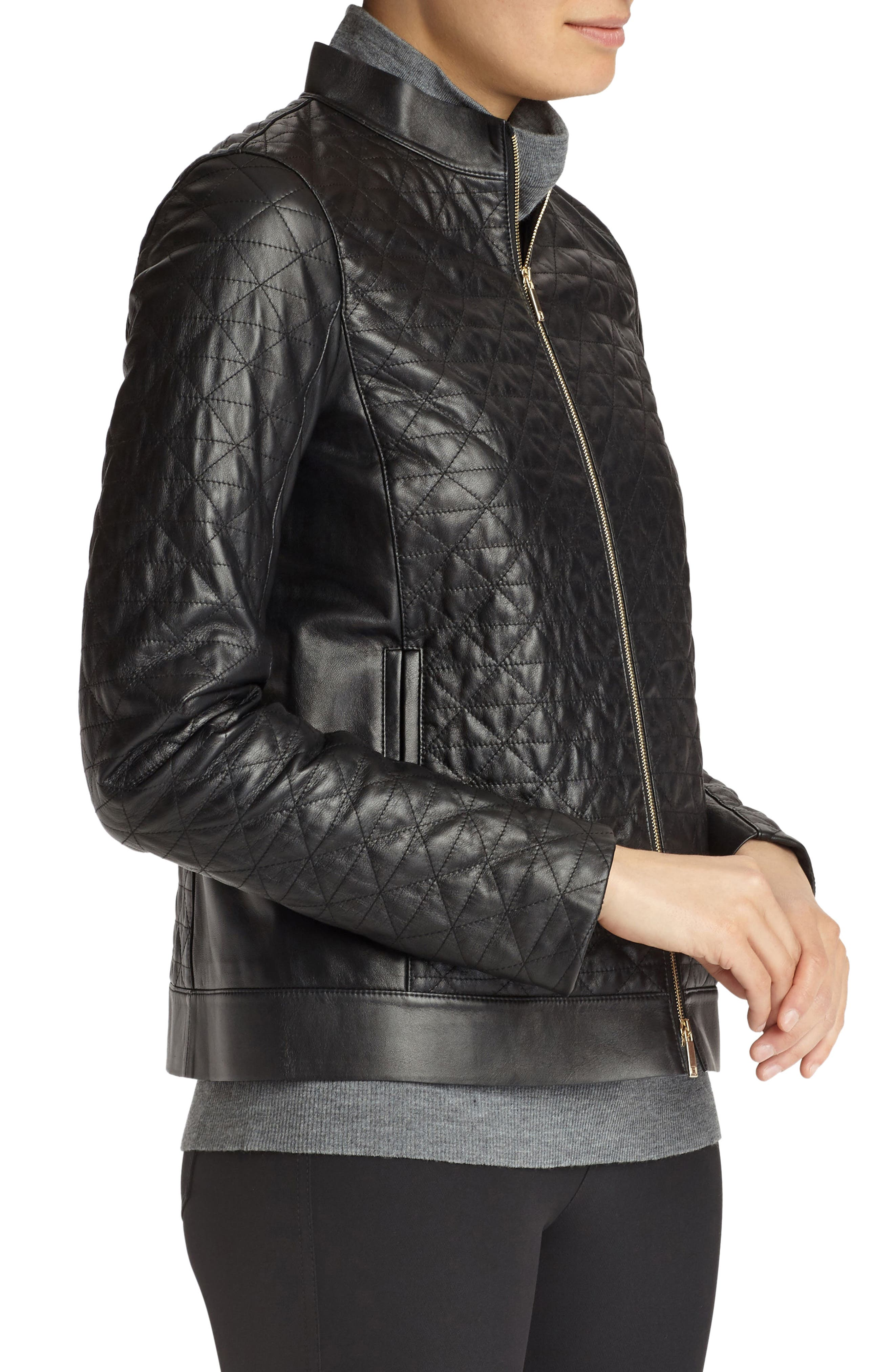 Becks Quilted Lambskin Leather Moto Jacket,                             Alternate thumbnail 3, color,                             001